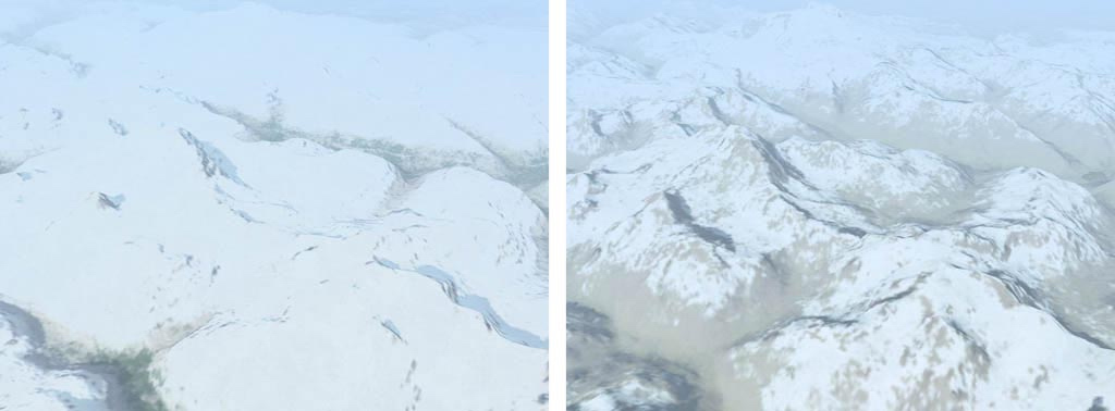 Examples of normal terrain mesh and textures on left and improved terrain mesh and improved textures on the right