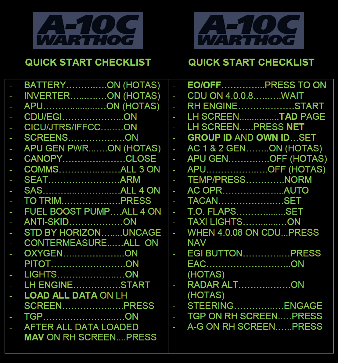 A-10C Quick Checklist for Night Ops.