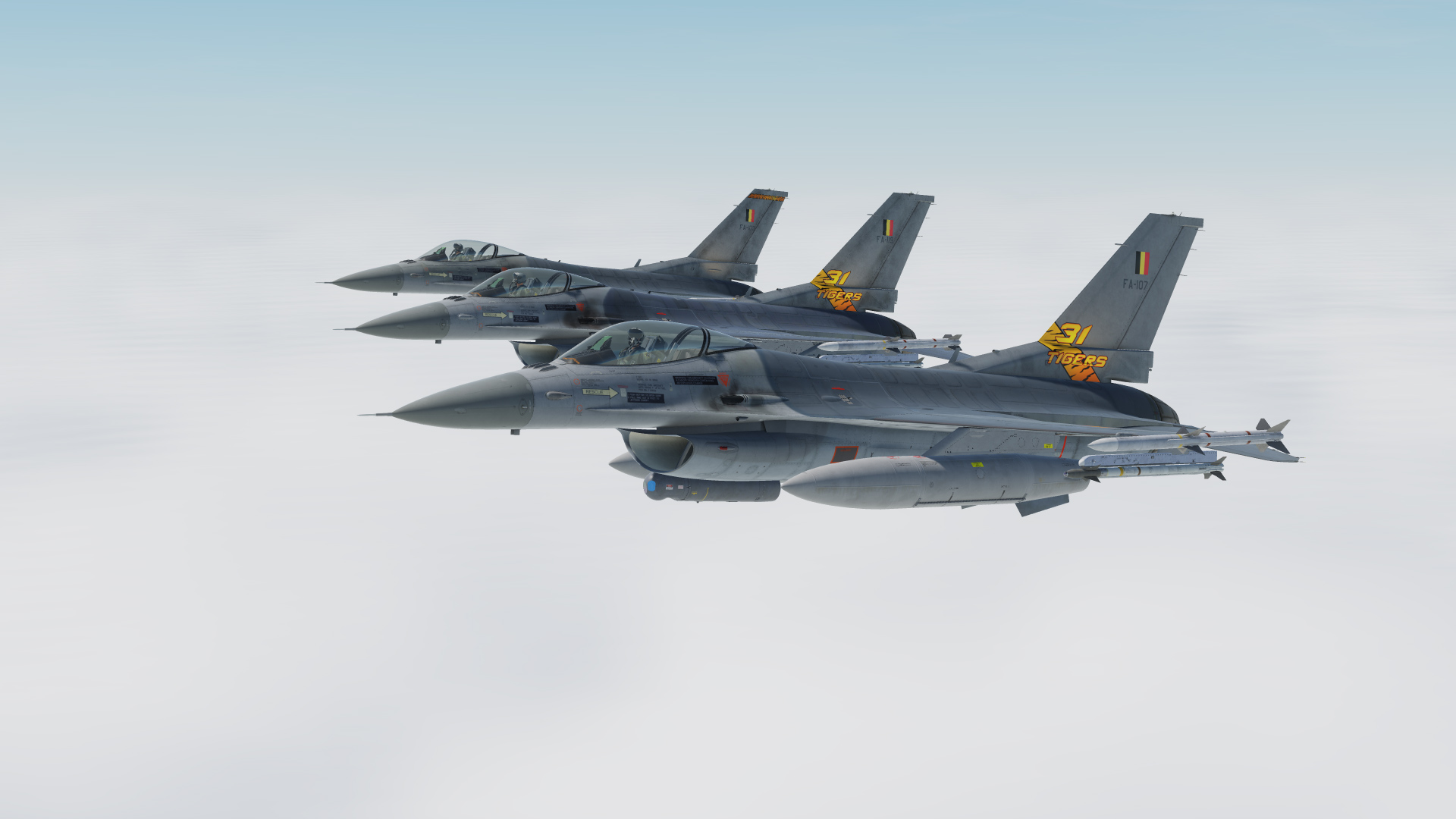 F-16 Belgian Air Force 'Mini-Tiger' PACK (3 Skins)