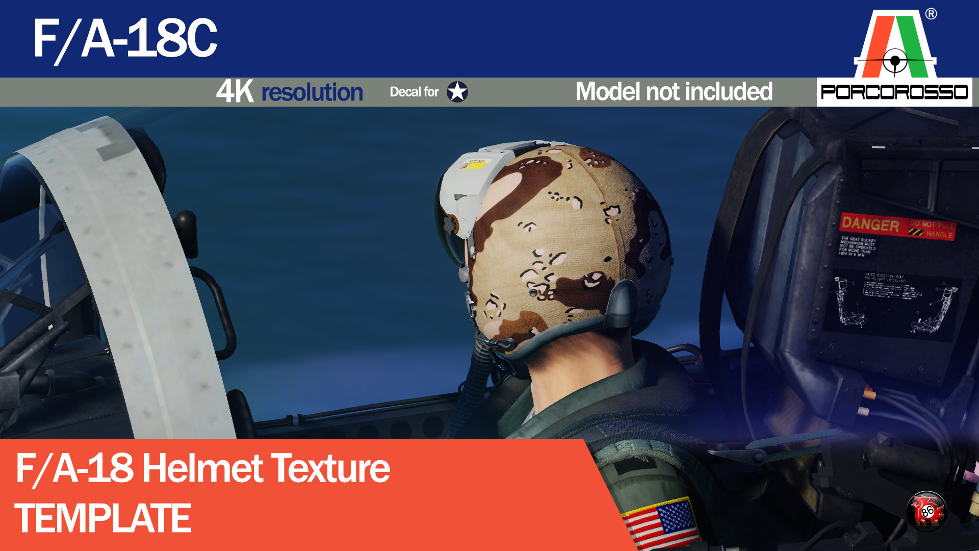 F/A-18C Helmet Texture TEMPLATE by PorcoRosso86