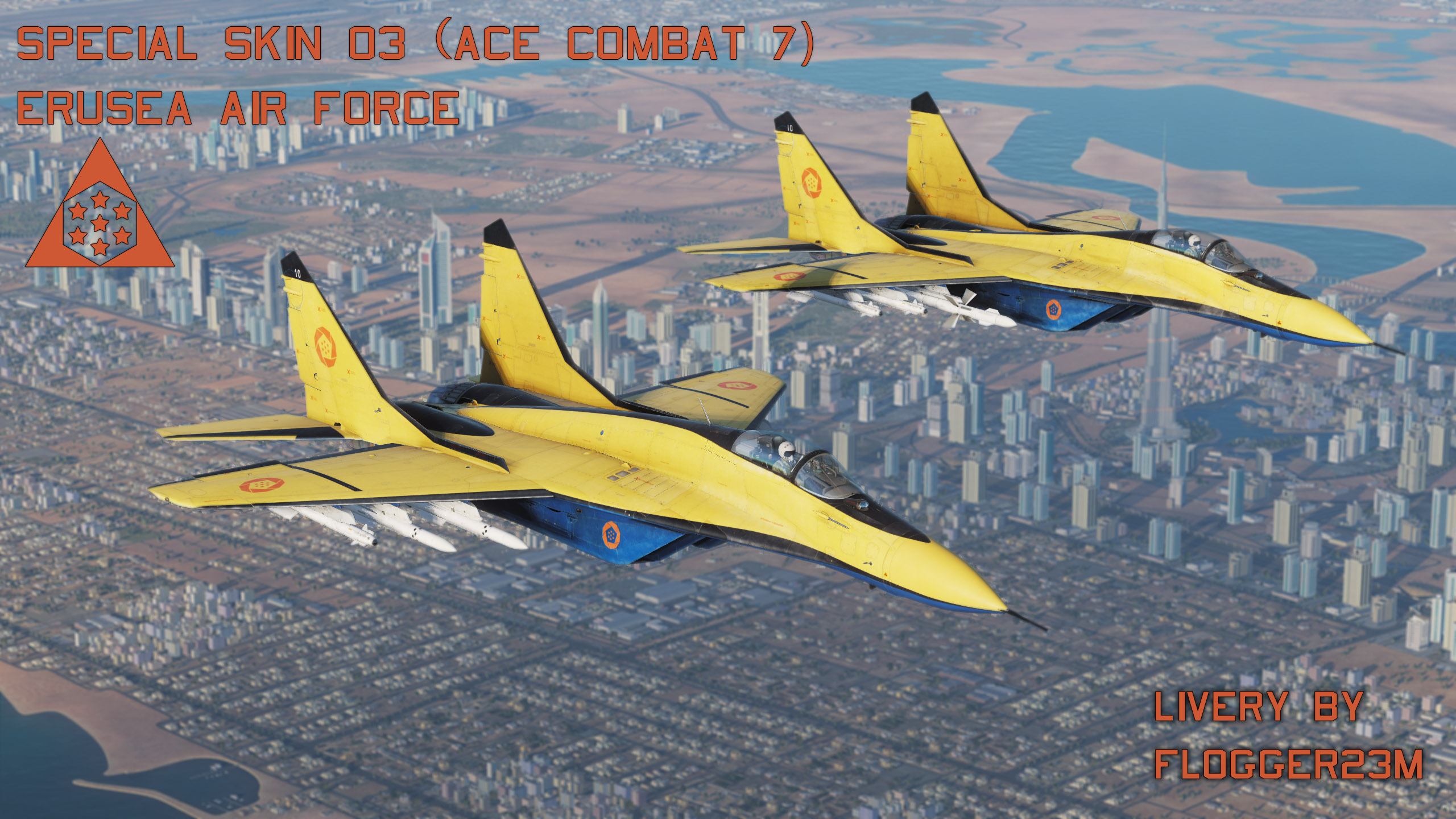 "Erusean Air Force ""Special Yellow Skin 03"" Livery for DCS World/Flaming Cliffs 3 - By Flogger23m"