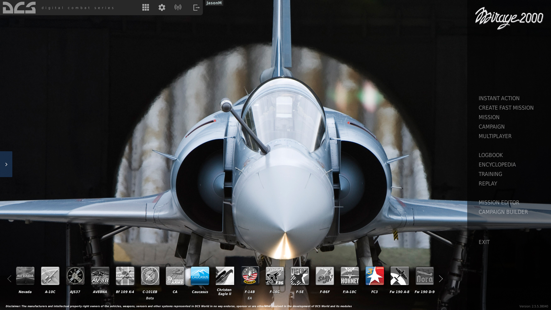 Hellenic Air Force Mirage 2000 Menu