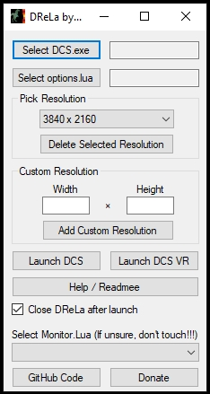 DCS Resolution Launcher (DReLa) v5 by Bailey