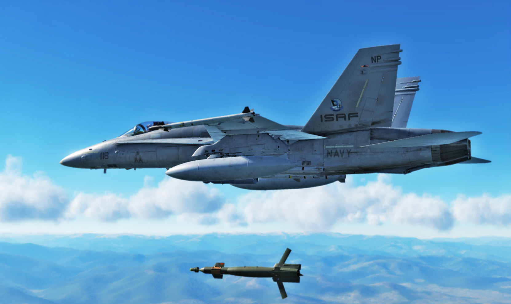 "Ace Combat- ISAF 118th Tactical Fighter Wing ""Mobius"" F-18 skin"
