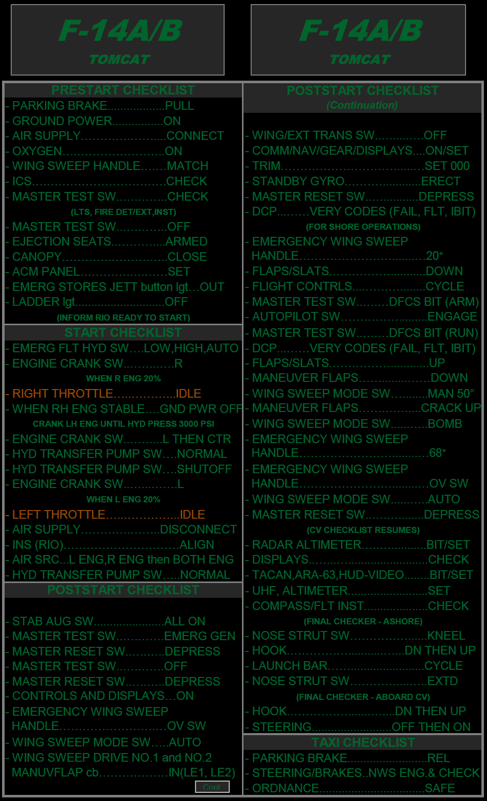 F-14A/B Tomcat Night Quick Checklist.