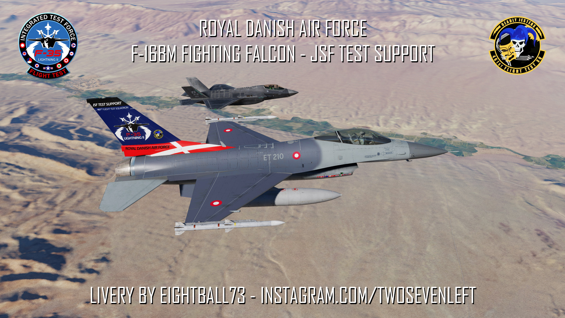 RDAF F-16BM Fighting Falcon ET 210 JSF Test Support