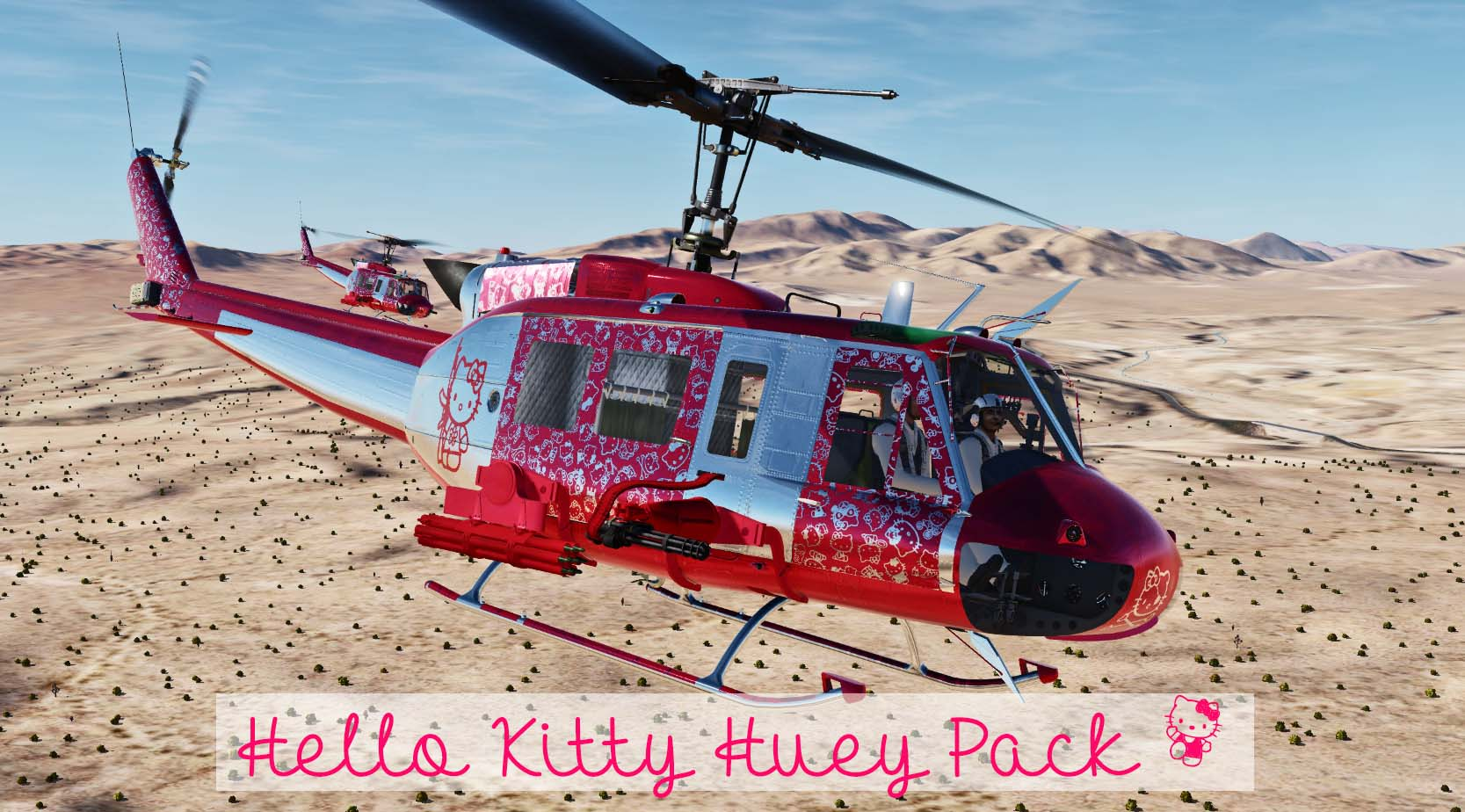 UH-1H Hello Kitty pack - Livrery + Cockpit