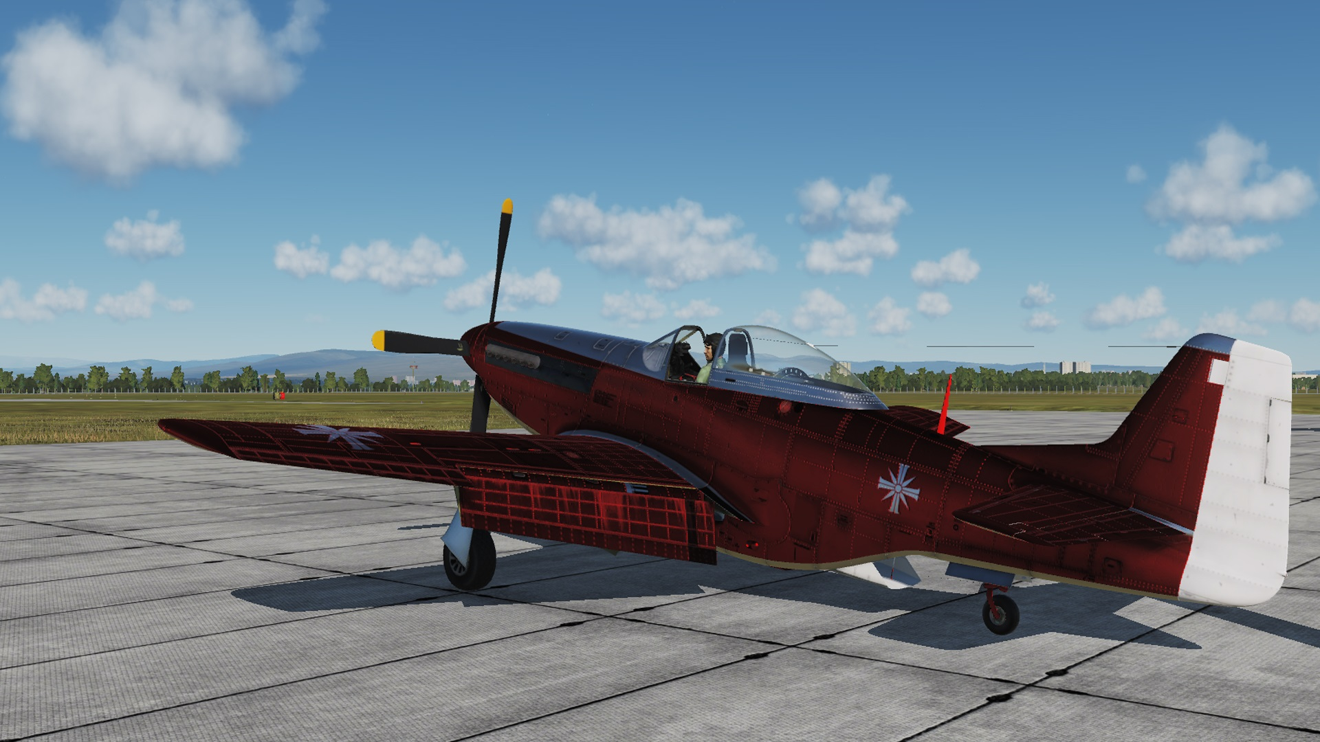 P-51D Mustang | Hunter Airplane Skin [RED] from FC5 | Far Cry 5 Skin