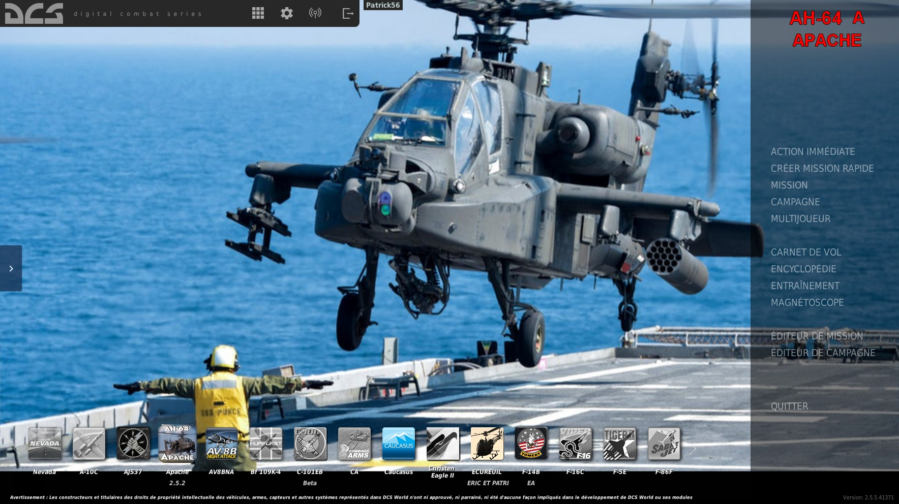 MOD AH-64A  APACHE Type ka-50 for OPENBETA and Stable 2.5.6.49798 BY Eric et Patrick Cuesta