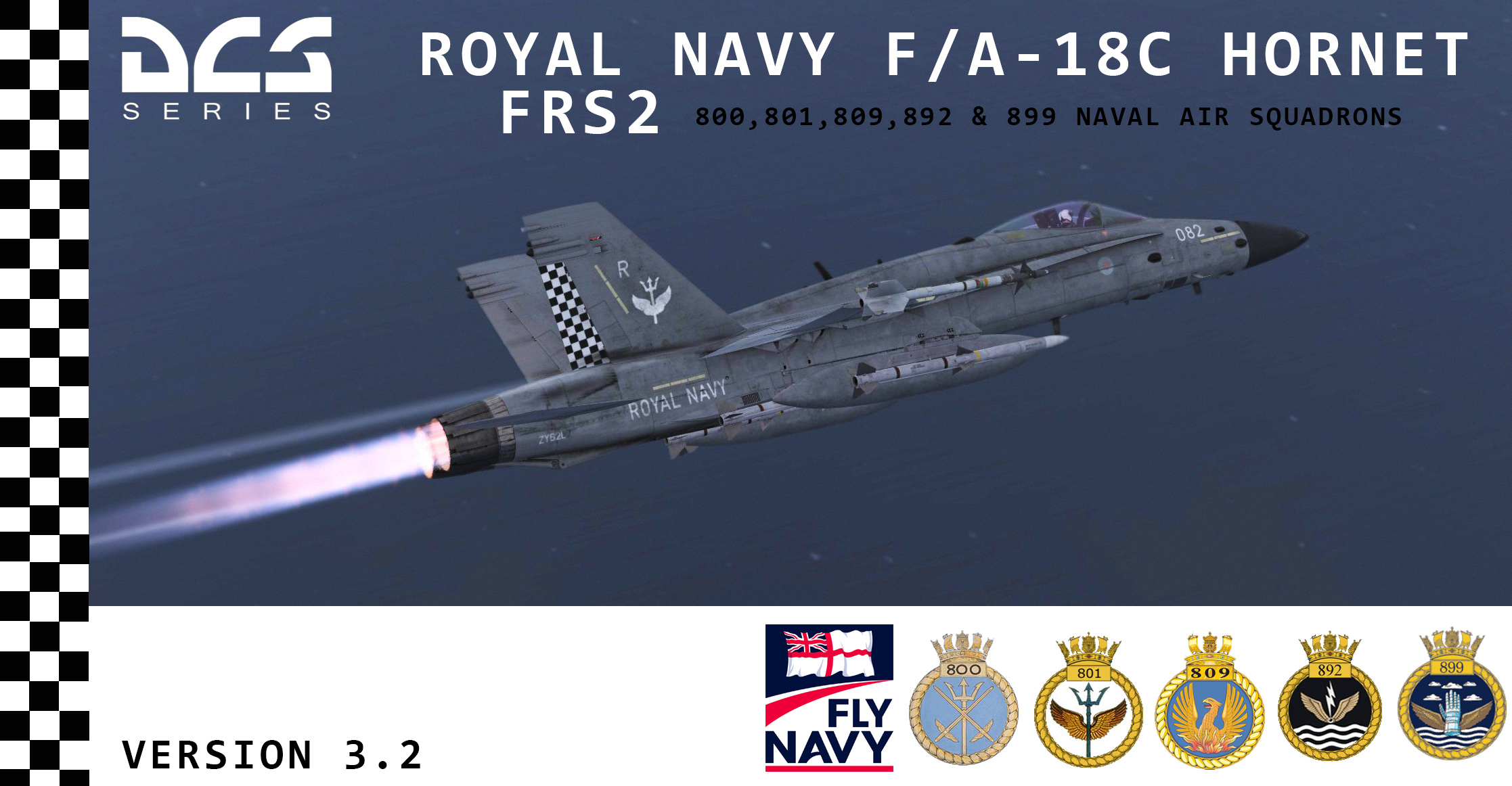 Royal Navy F/A-18C Hornet FRS2 Fictional Fleet Air Arm Skins - 800, 801,809,892 & 899 NAS | Version 3.3