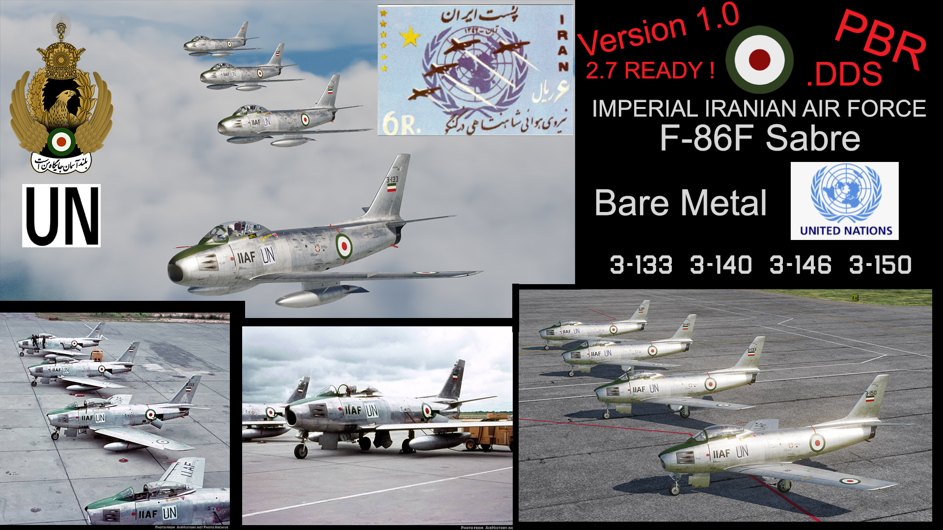 IMPERIAL IRANIAN AIR FORCE ( IIAF ) F-86F SABRE UNITED NATIONS  Pack version1.0