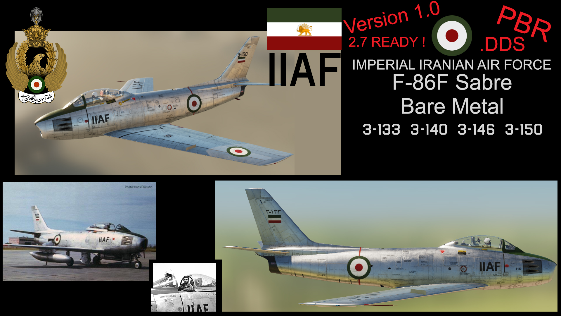IMPERIAL IRANIAN AIR FORCE ( IIAF ) F-86F SABRE Bare Metal Pack version1.0