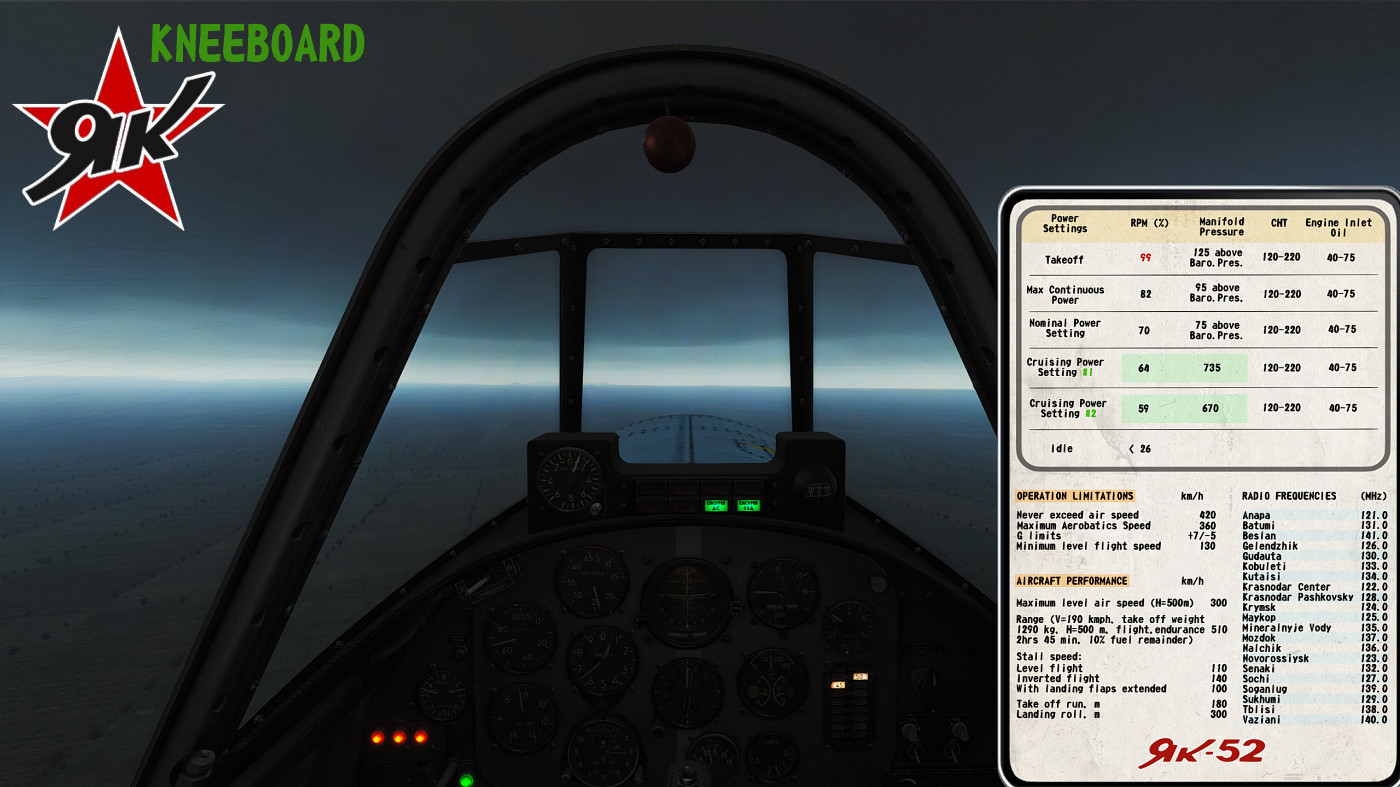 Yak-52's one pager kneeboard