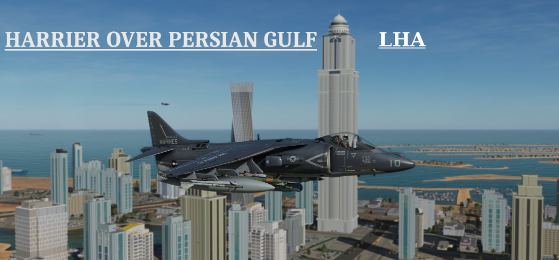 Harrier over Persian Gulf LHA Tarawa using Mbot Dynamic Campaign Engine