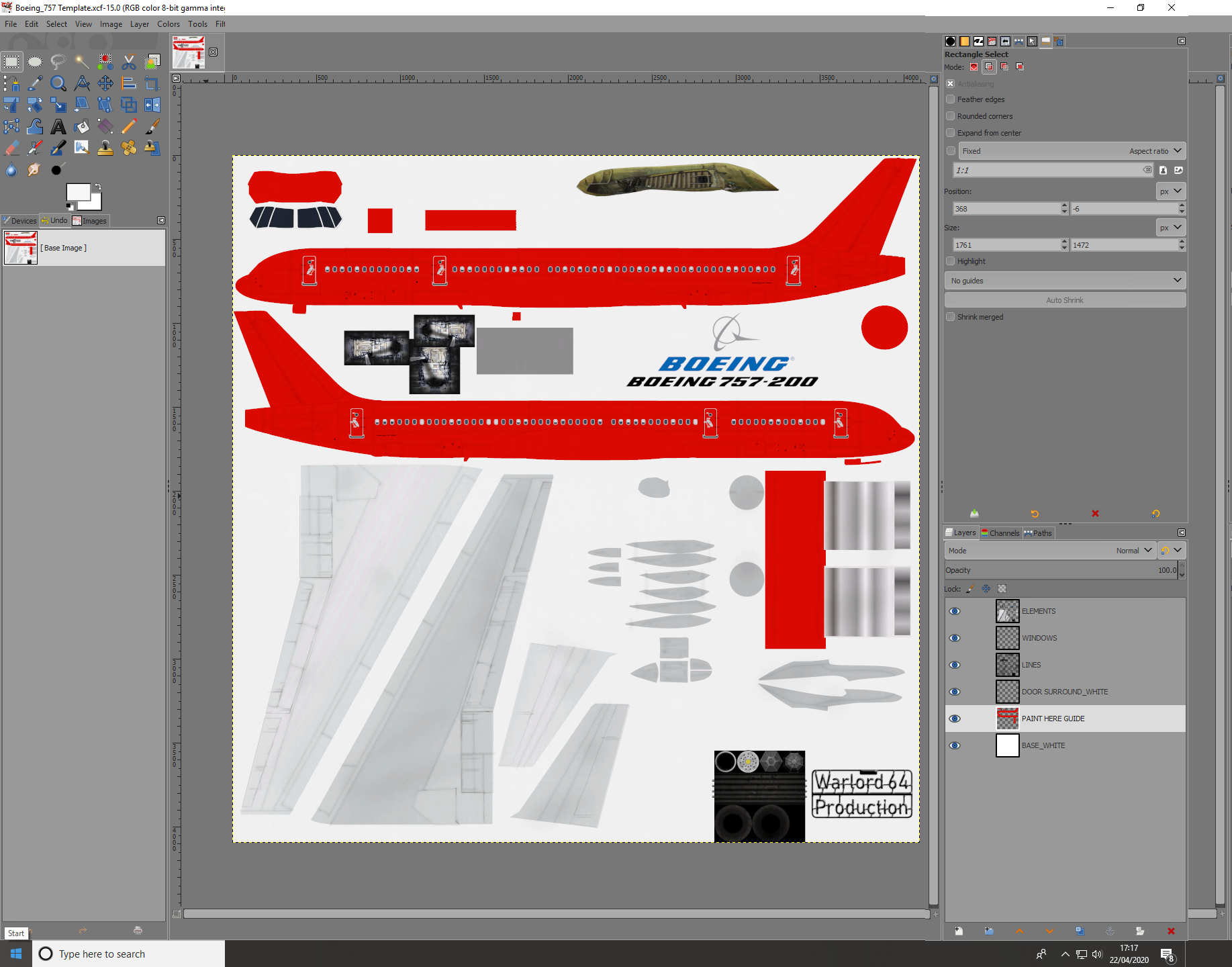 Boeing 757 Skin Template for Civil Aircraft Mod.