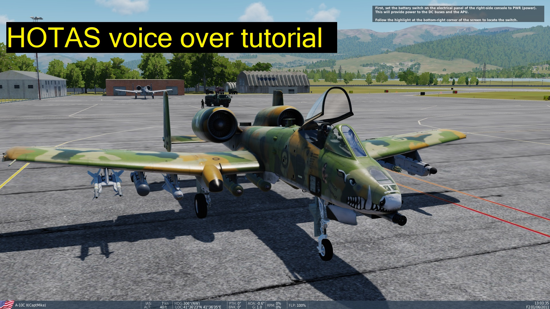 "A-10C II tank killer ""HOTAS"" interactive voice instructor tutorial."