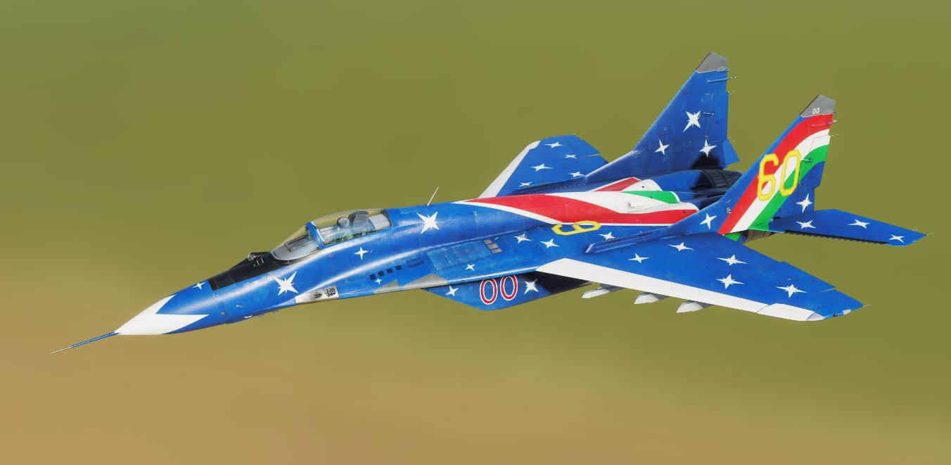 Hungarian Air Force Mig-29s 60th Anniversary blue stars paint