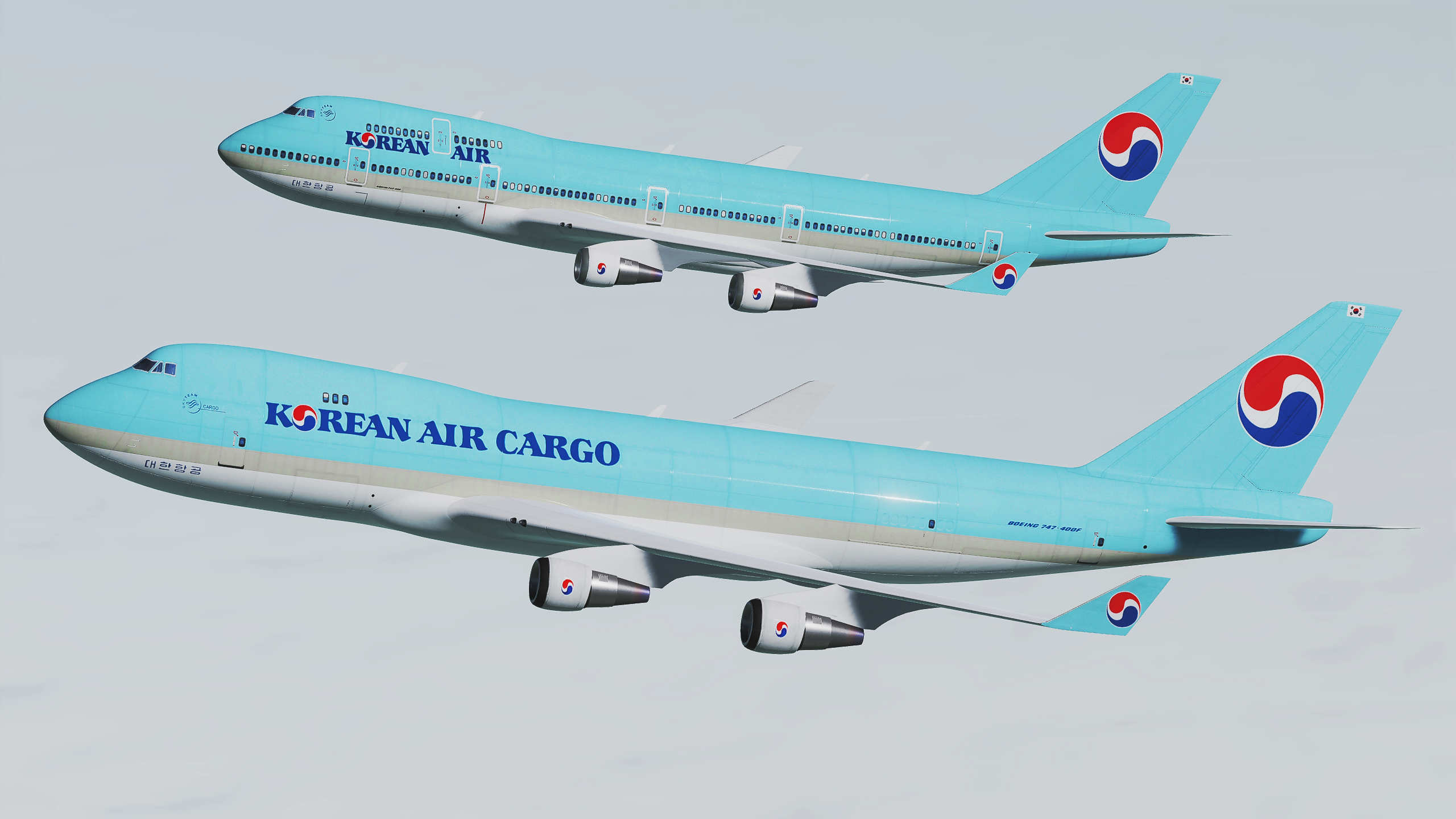 Korean Air 747-400 Skin Pack for Civilian Aircraft Mod