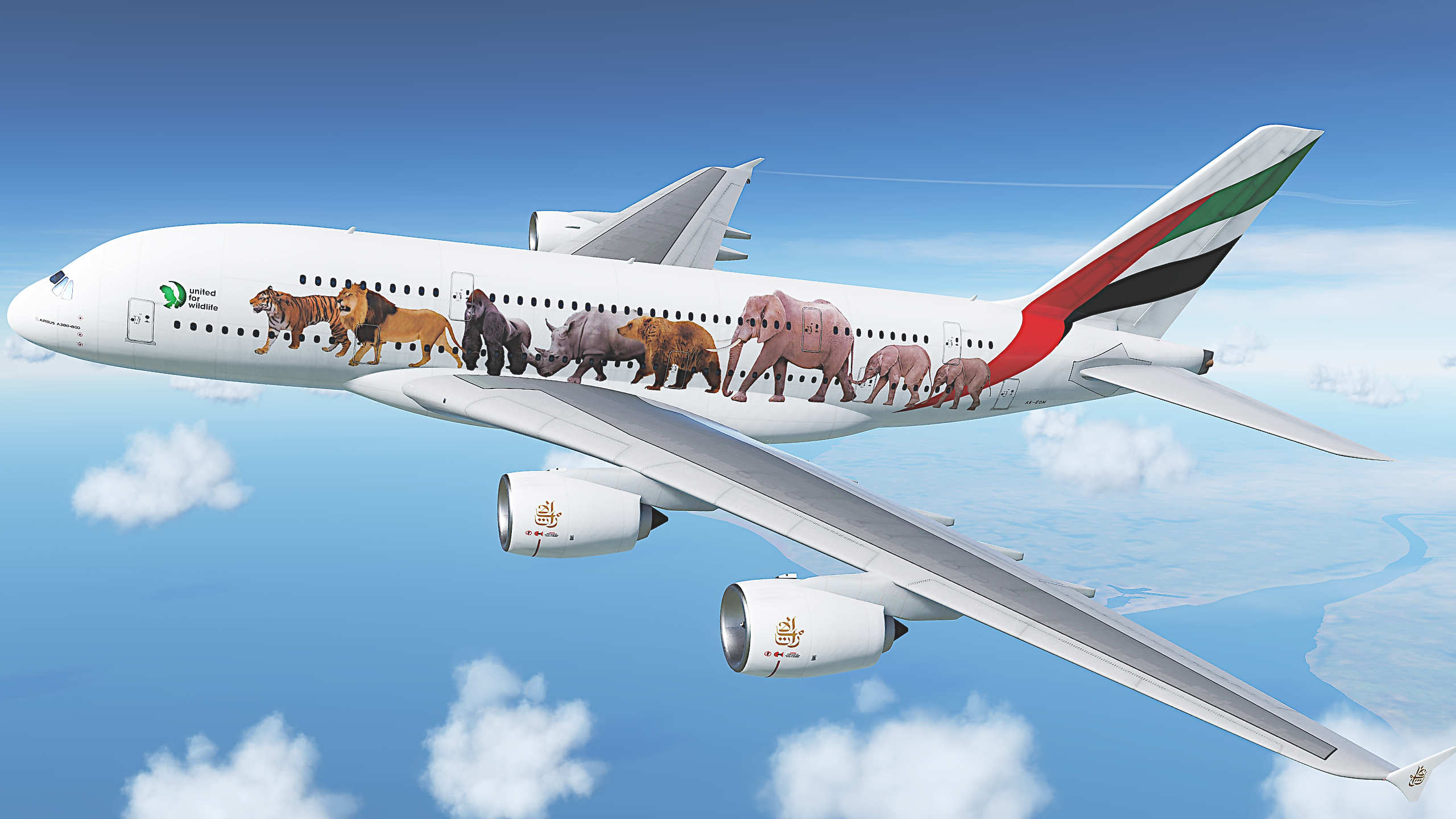 Airbus_A380  Emirates 'United  for Wildlife'  Serial Number...A6-EOM