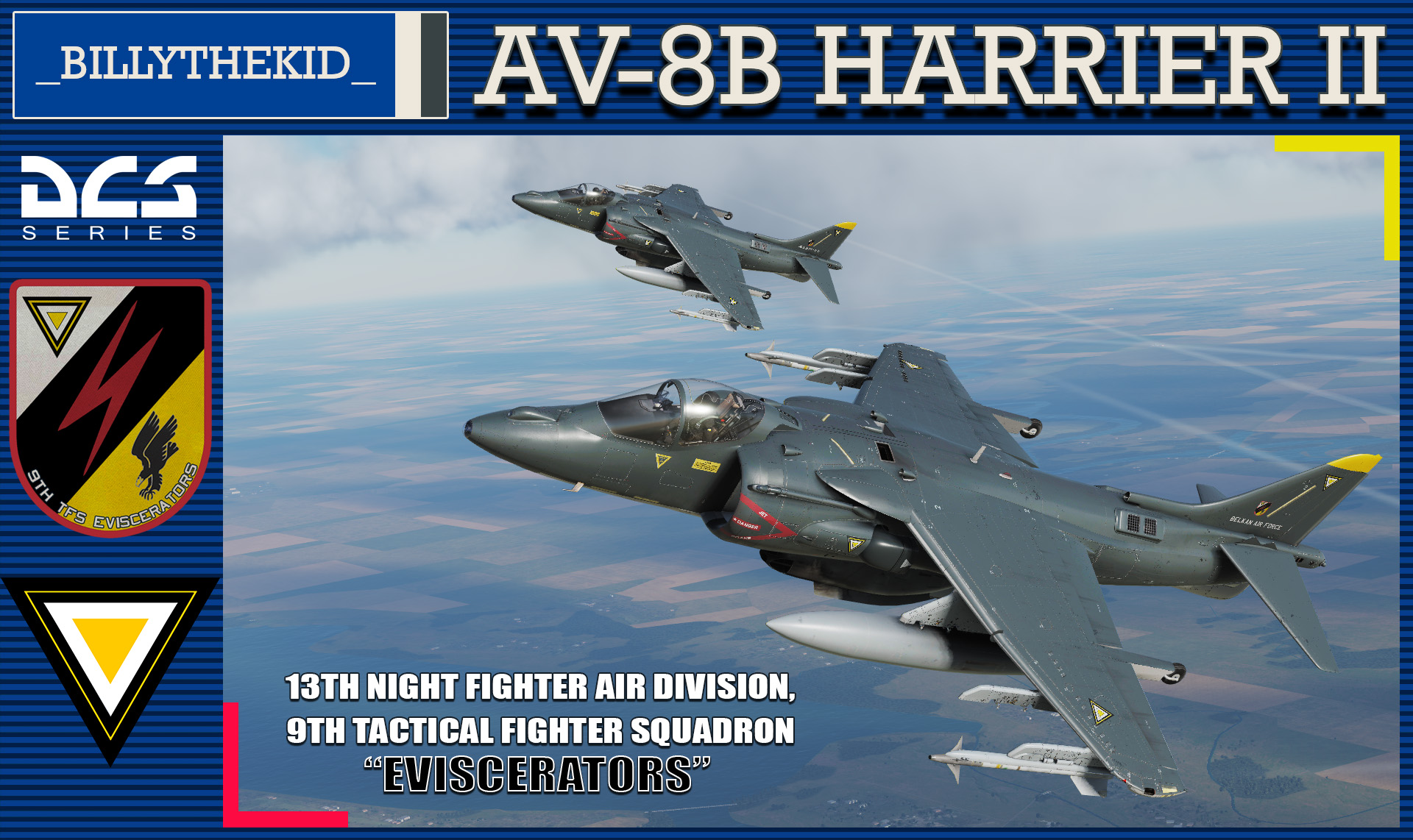 "Ace Combat - Belkan Air Force 13th Night Fighter Air Division, 9th TFS ""Eviscerators"" AV8B Harrier II"