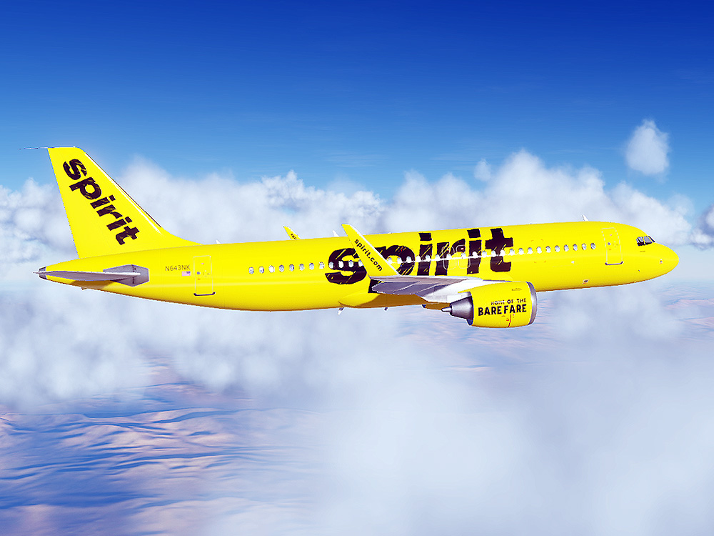 Spirit Airlines Airbus A320 (Paint for Civil Aircraft Mod)