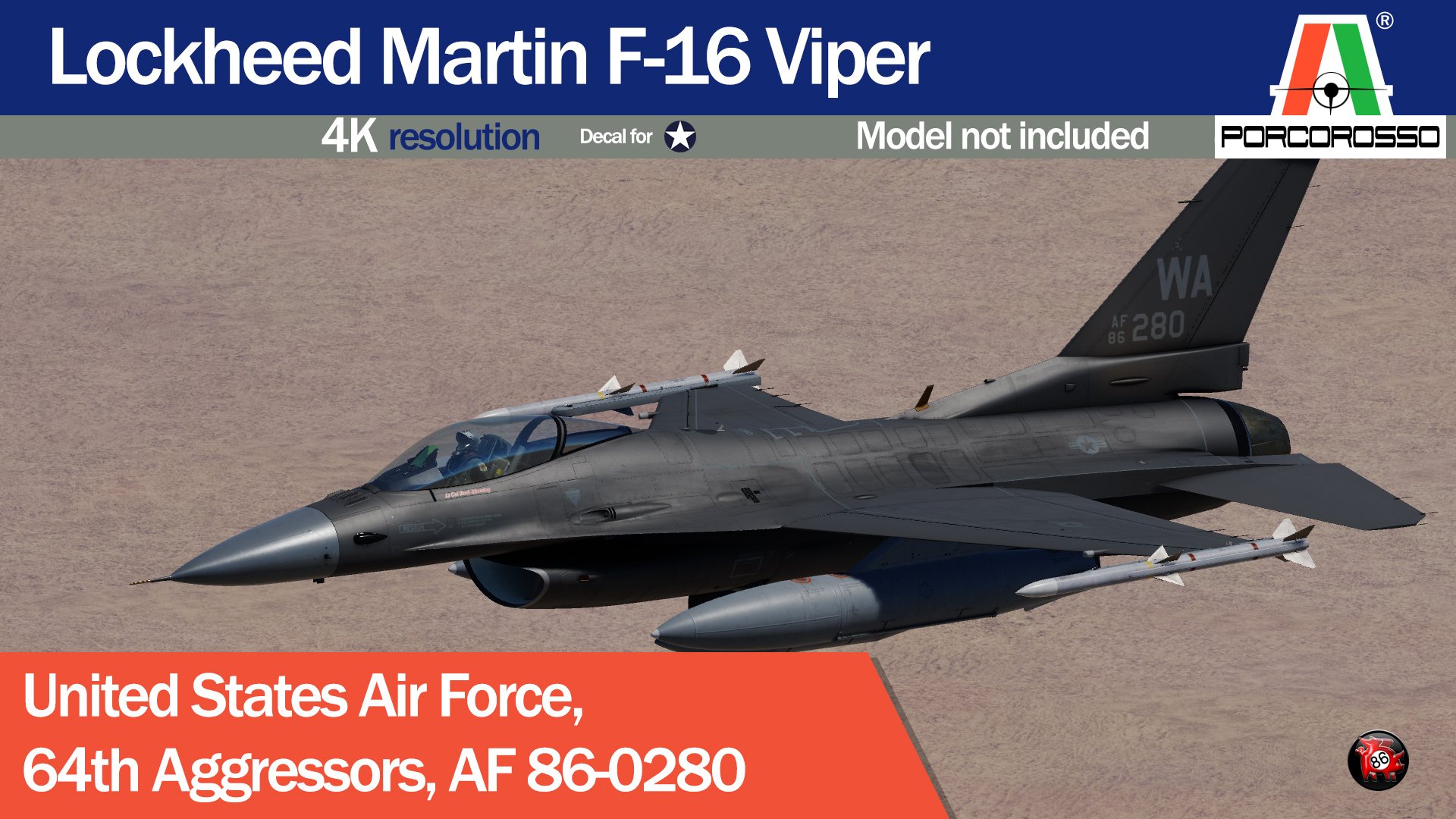 USAF 64th Aggressors Have Glass V, AF 86-280 by PorcoRosso86 UPDATE