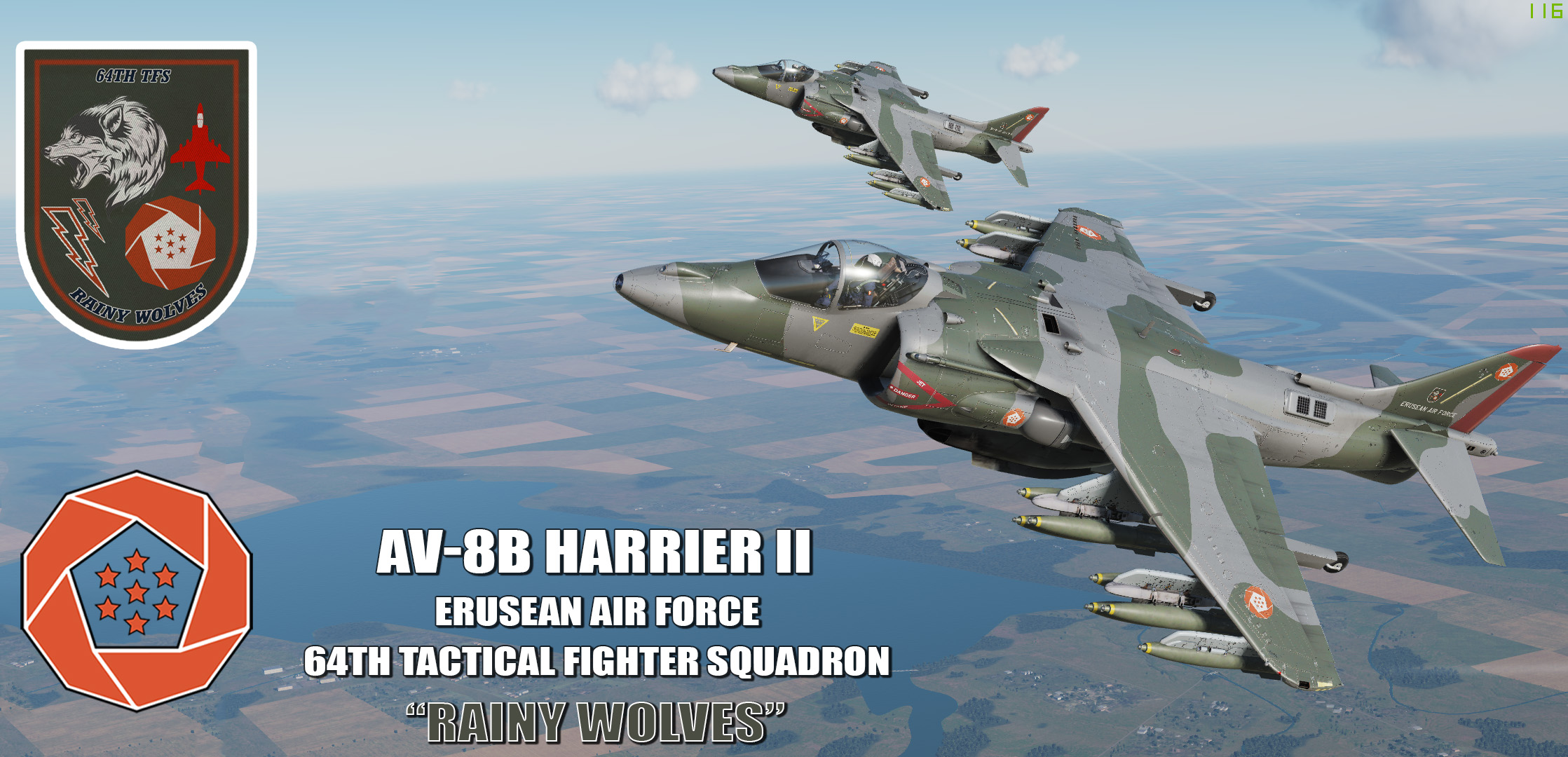 "Ace Combat - Erusean Air Force 64th TFS ""Rainy Wolves"" AV8B Harrier II"