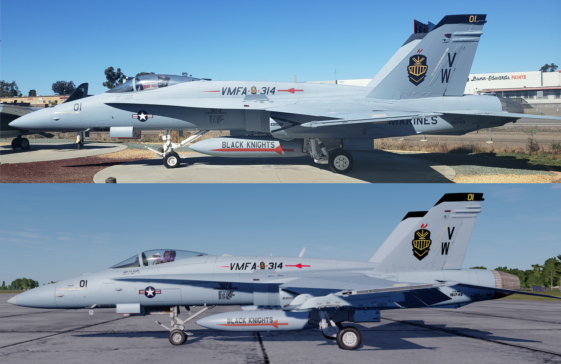 Flying Leatherneck Museum, MCAS Miramar, VMFA-314, BuNo. 161749 (Clean and worn versions)