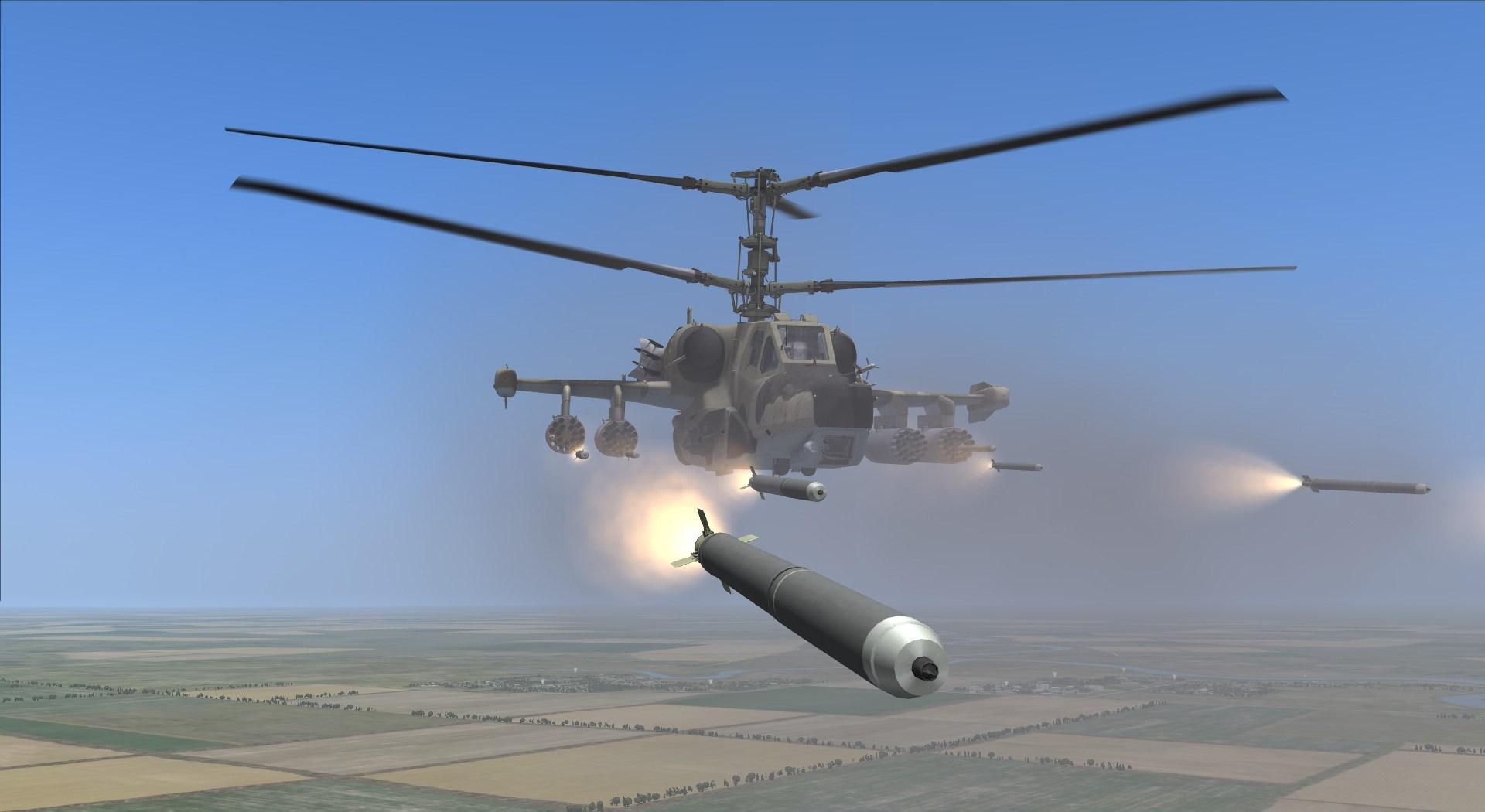 Применение различного вооружения вертолёта Ка-50