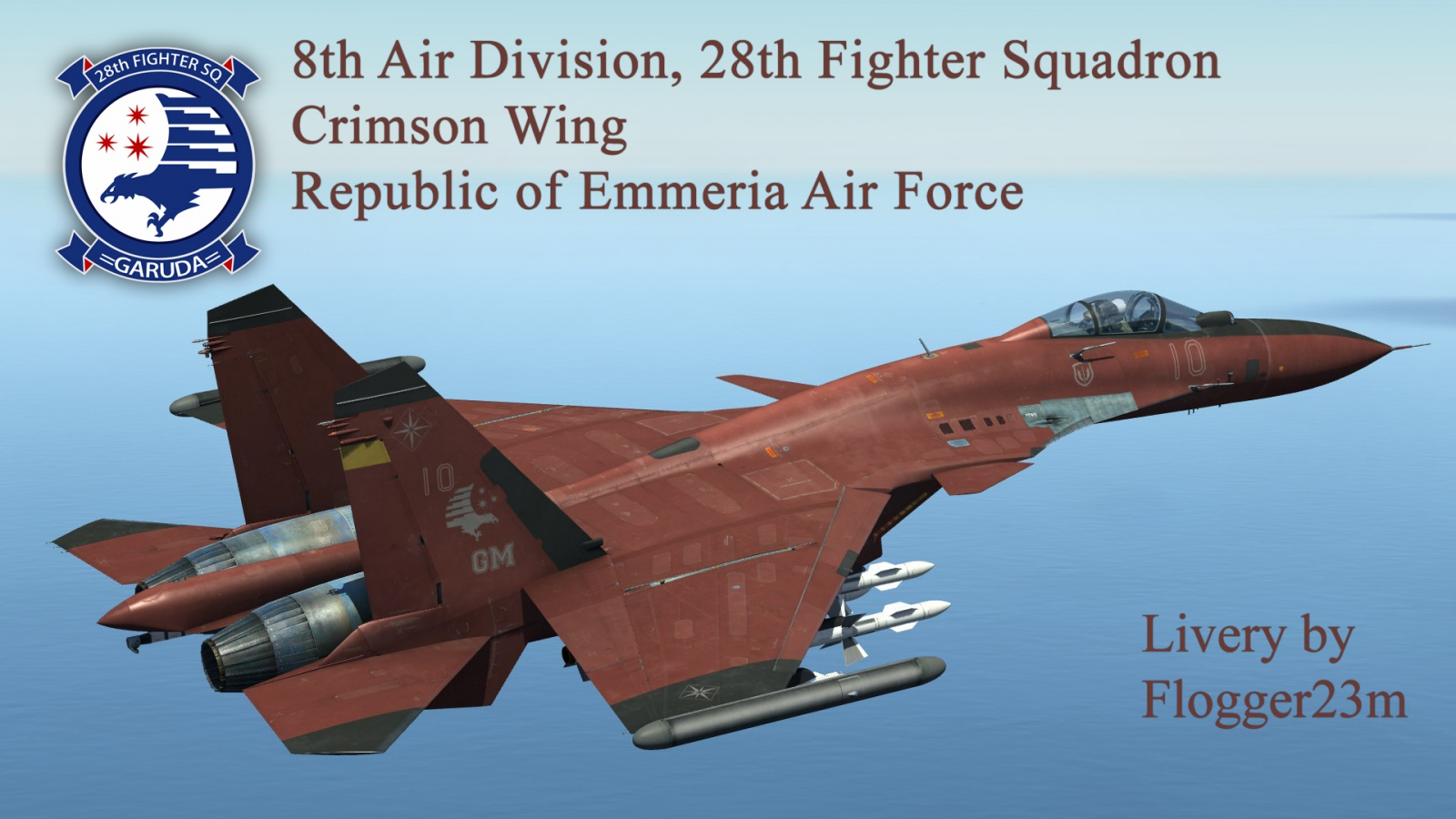Crimson Wing 8th Air Division 28th Fighter Squadron For Su 33 V 40 Pilot Garuda