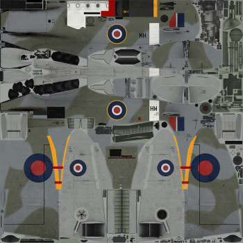 Texture template for Spitfire IX model