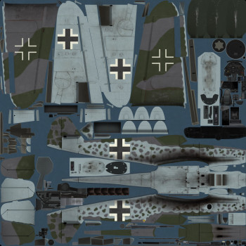 Texture template for Bf 109 K-4 model