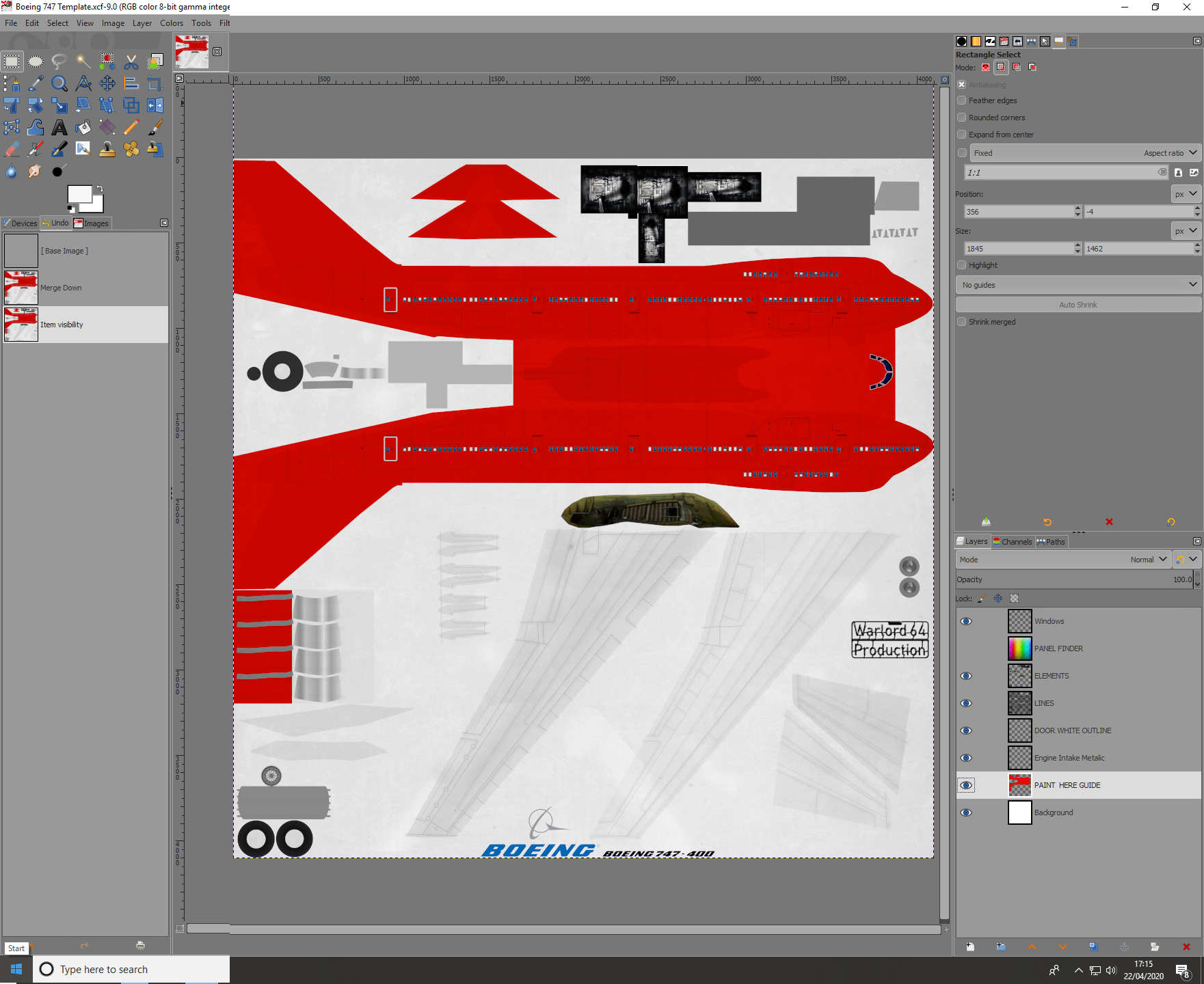 Boeing 747 Skin Template for  Civil Aircraft Mod.
