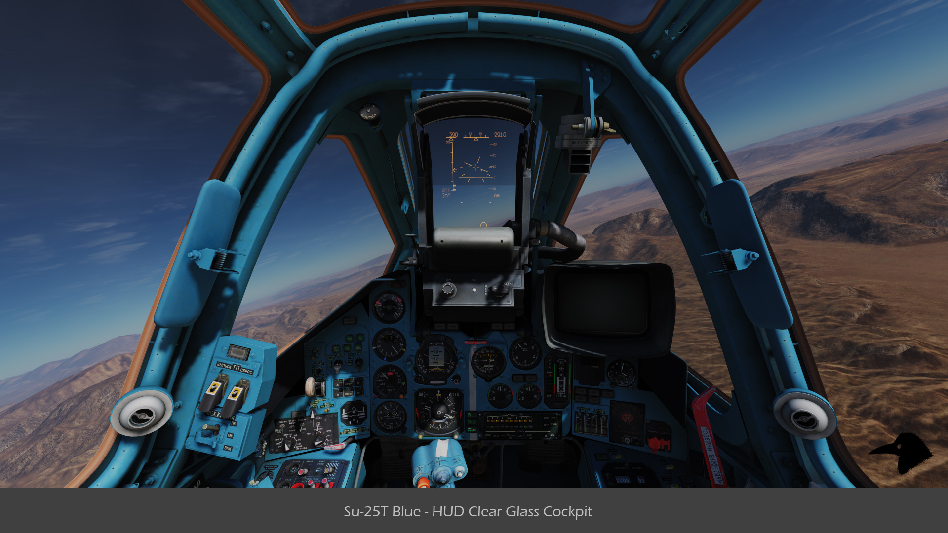 Su-25T Blue - HUD Clear Glass Cockpit v01