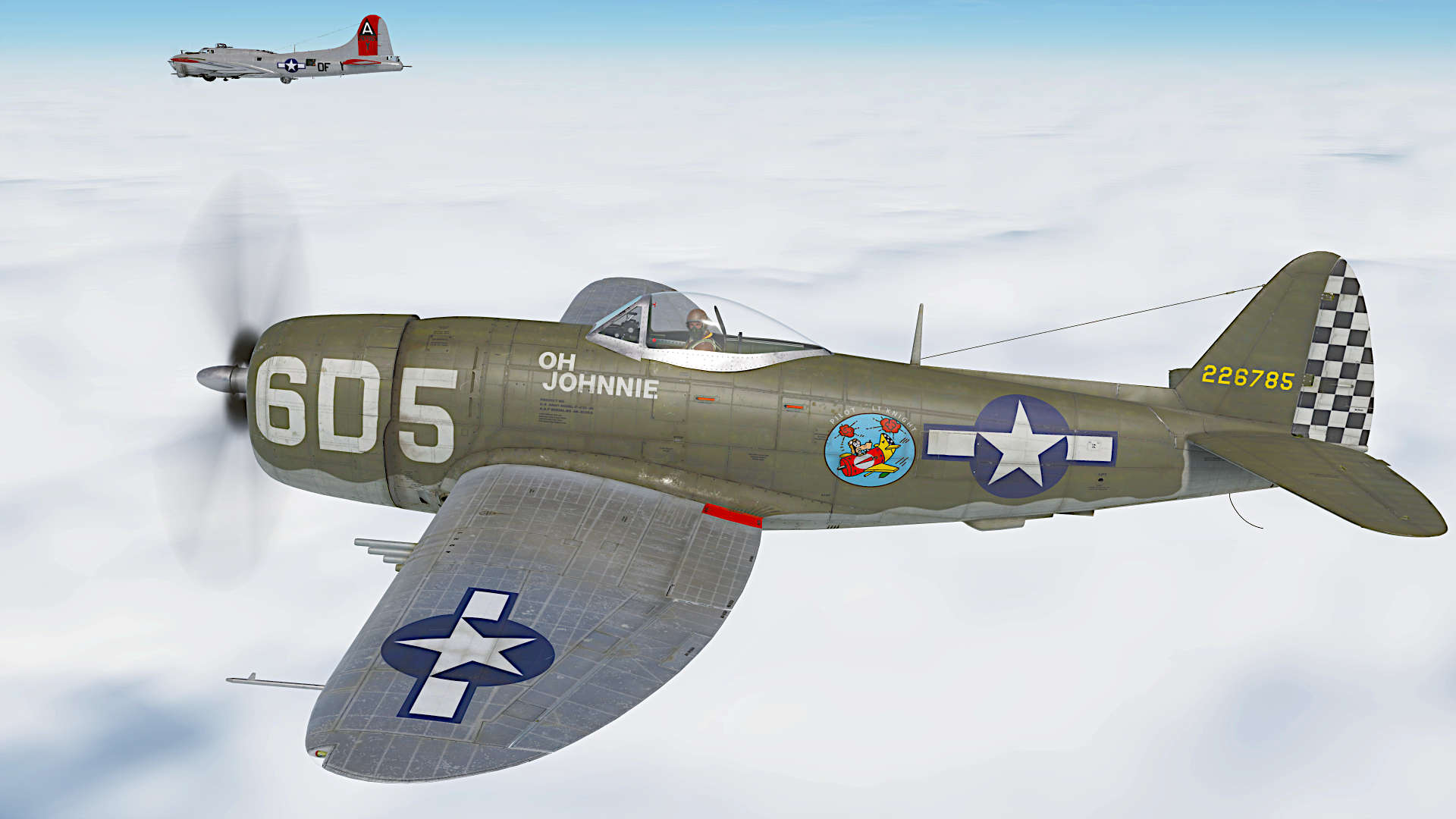 "P-47D ""OH JOHNNIE"" Flown by Lt Raymond Knight of 346th FS, 350th FG , Italy 1945."