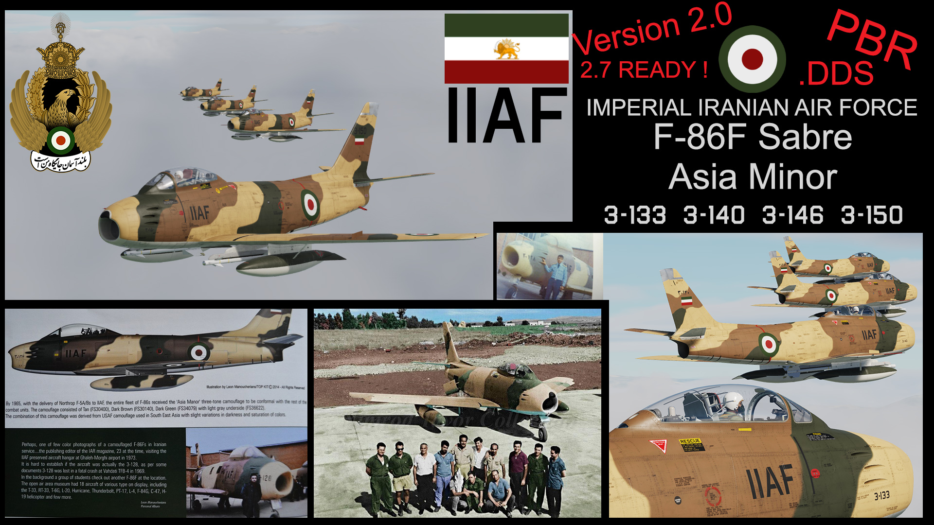 IMPERIAL IRANIAN AIR FORCE ( IIAF ) F-86F SABRE ASIA MINOR  Pack version2.0