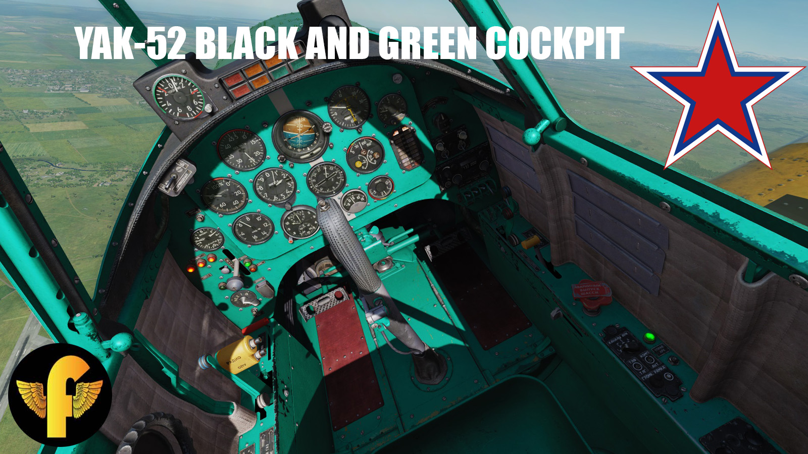 Green and Black cockpit livery for Yak-52