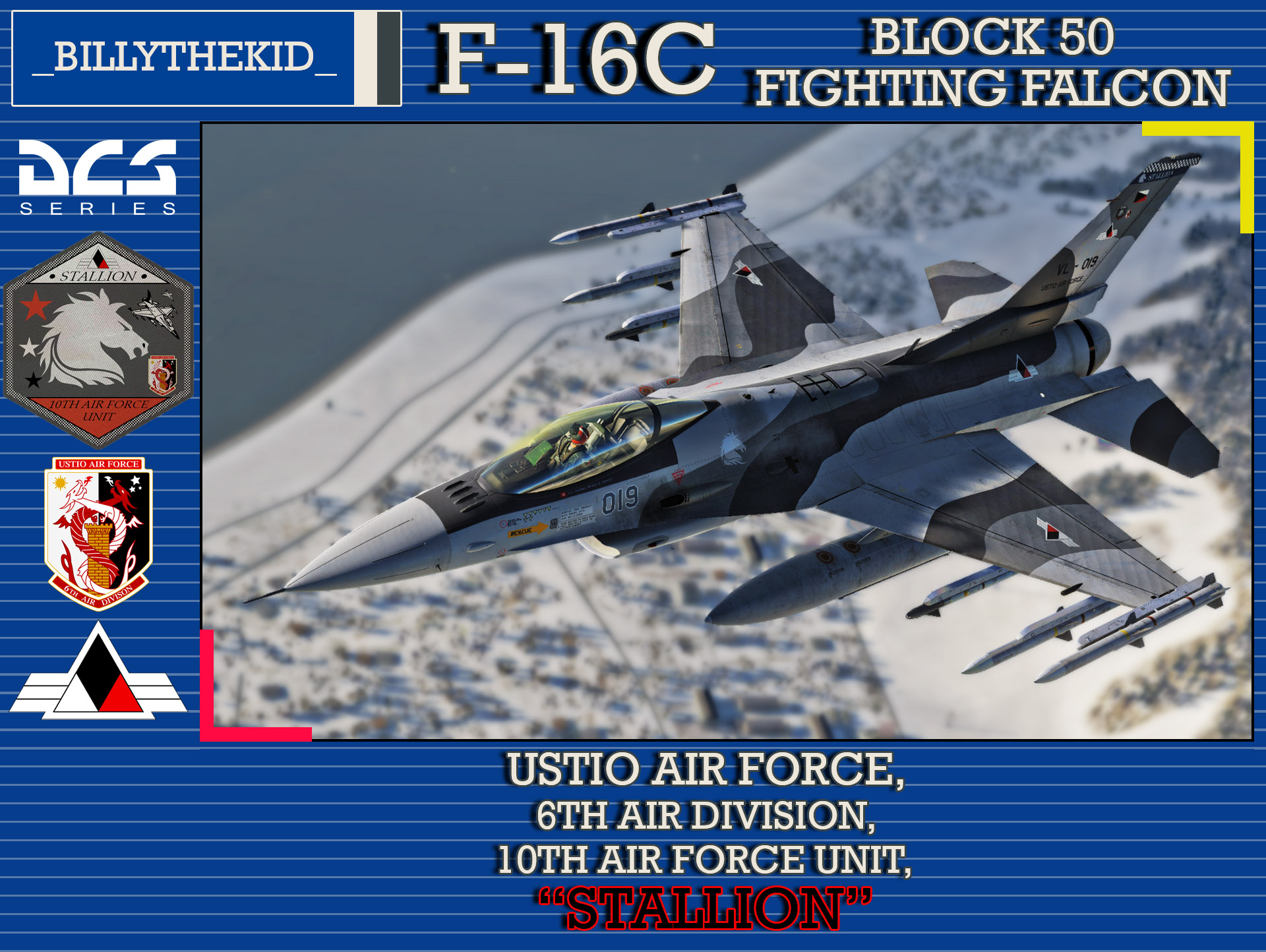 "Ace Combat - Ustio Air Force, 6th Air Division, 10th Air Force Unit ""Stallion"" F-16C Block 50 Fighting Falcon"