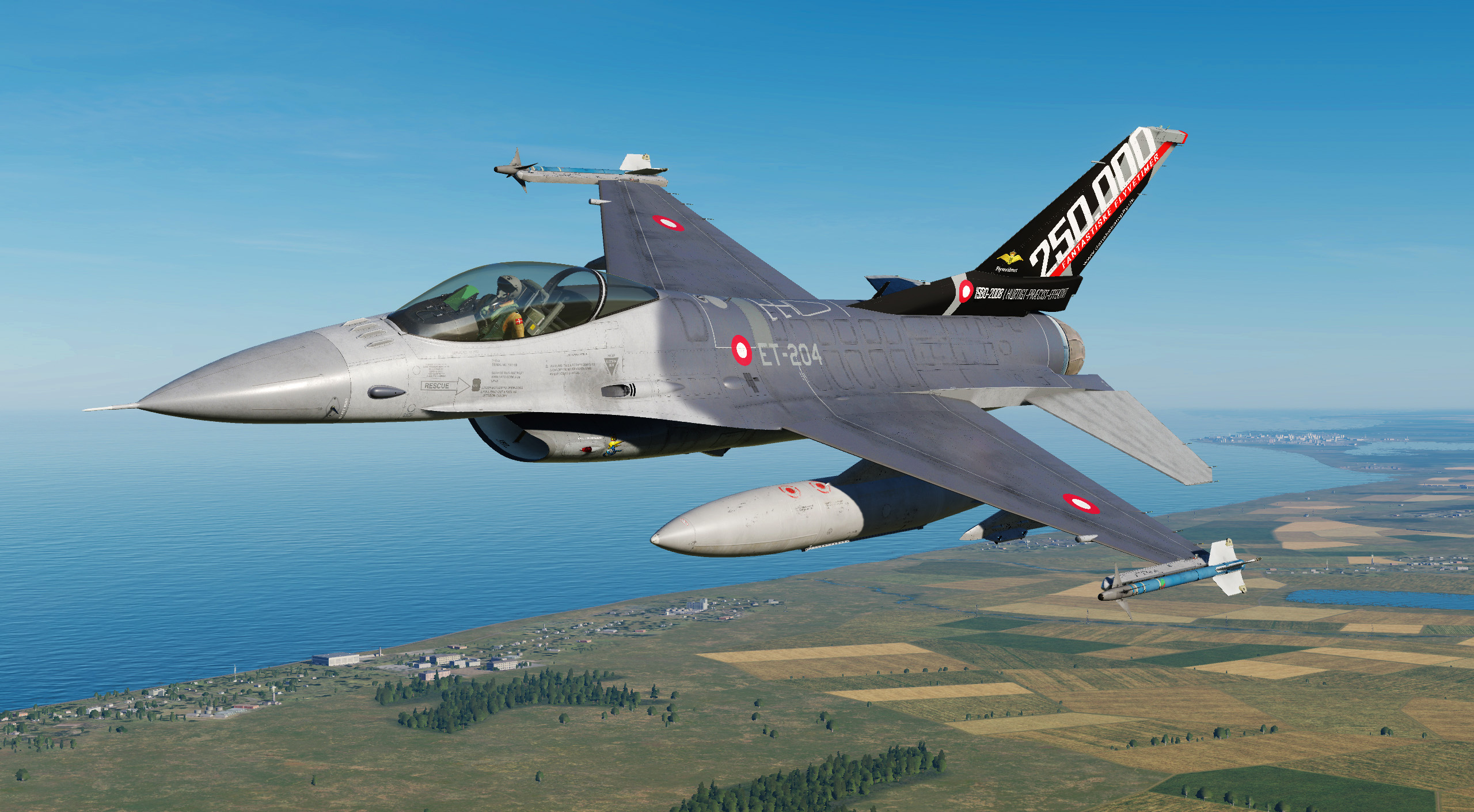 RDAF F-16B Fighting Falcon ET204 250.000 HOURS