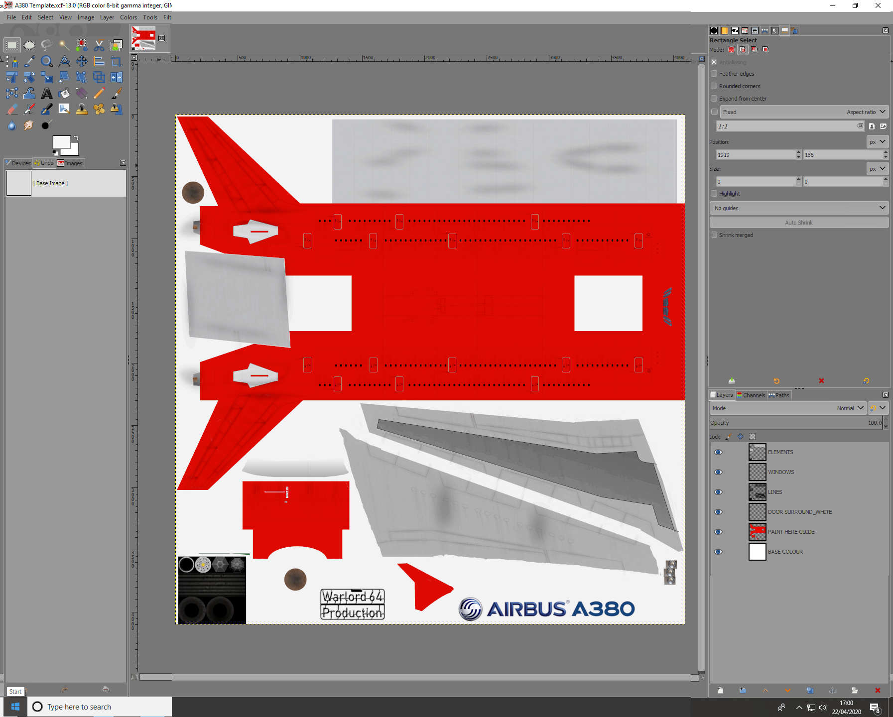Airbus A380  Skin Template  for Civil Aircraft Mod
