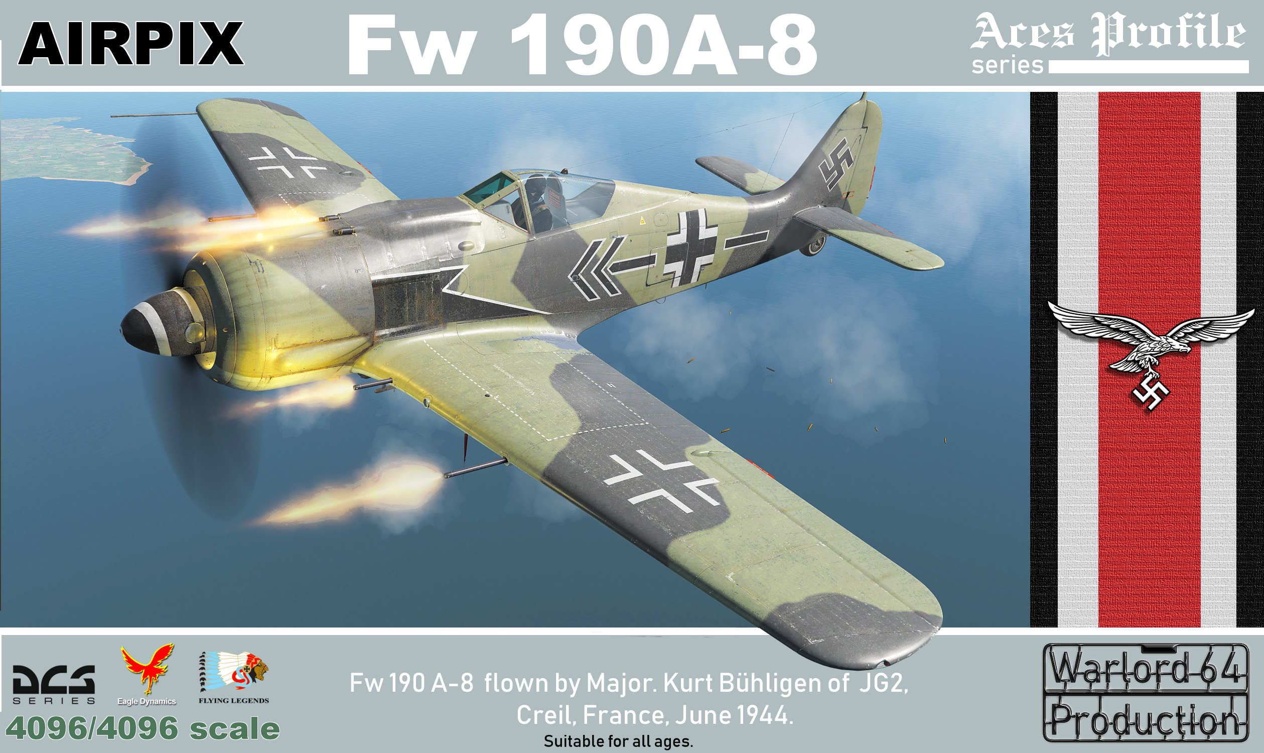 Fw190-A8 flown by Maj.Kurt Buhlingen of JG2 based at Creil,France July 1944.