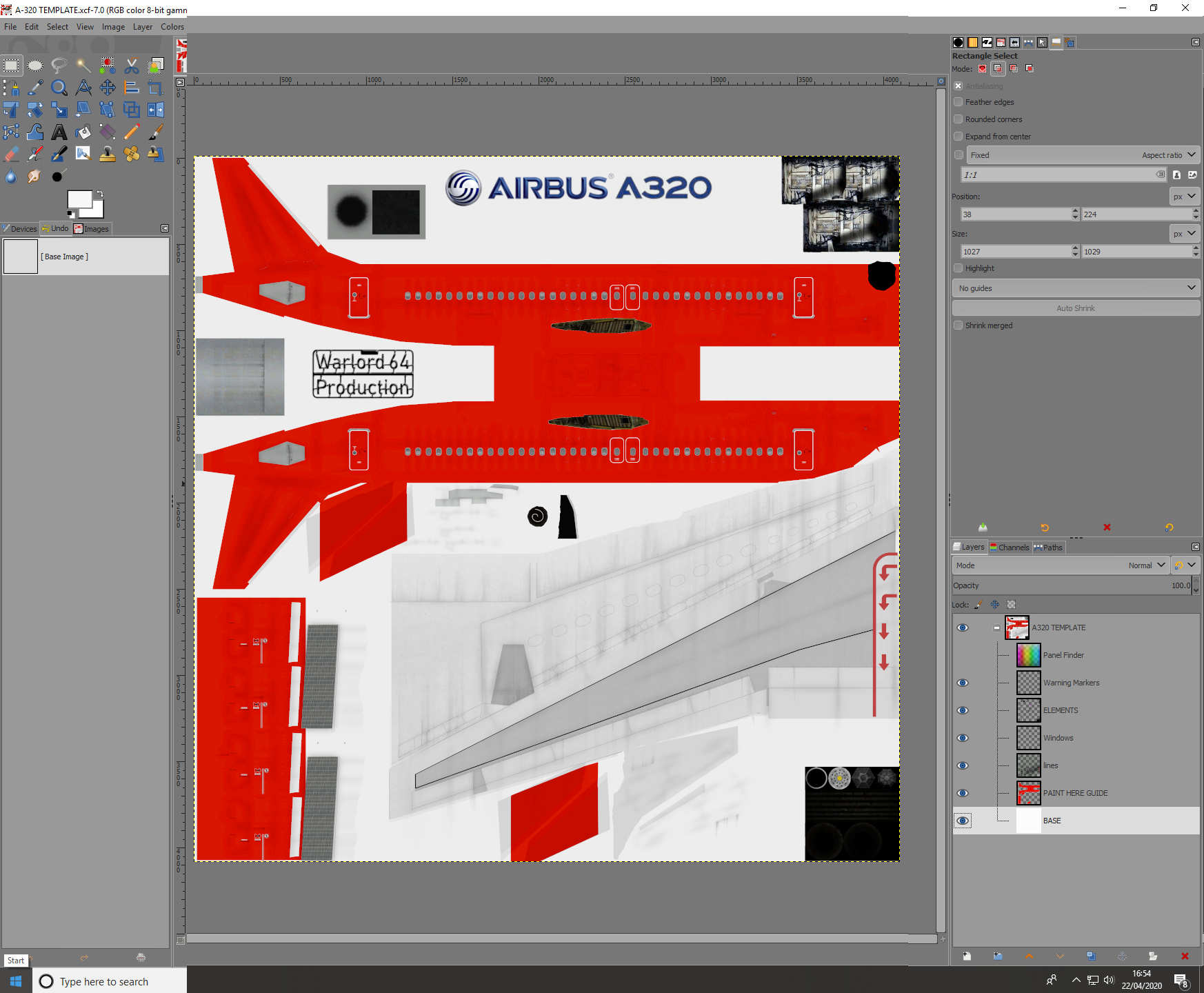 Airbus A320 Skin Template for Civil Aircraft Mod
