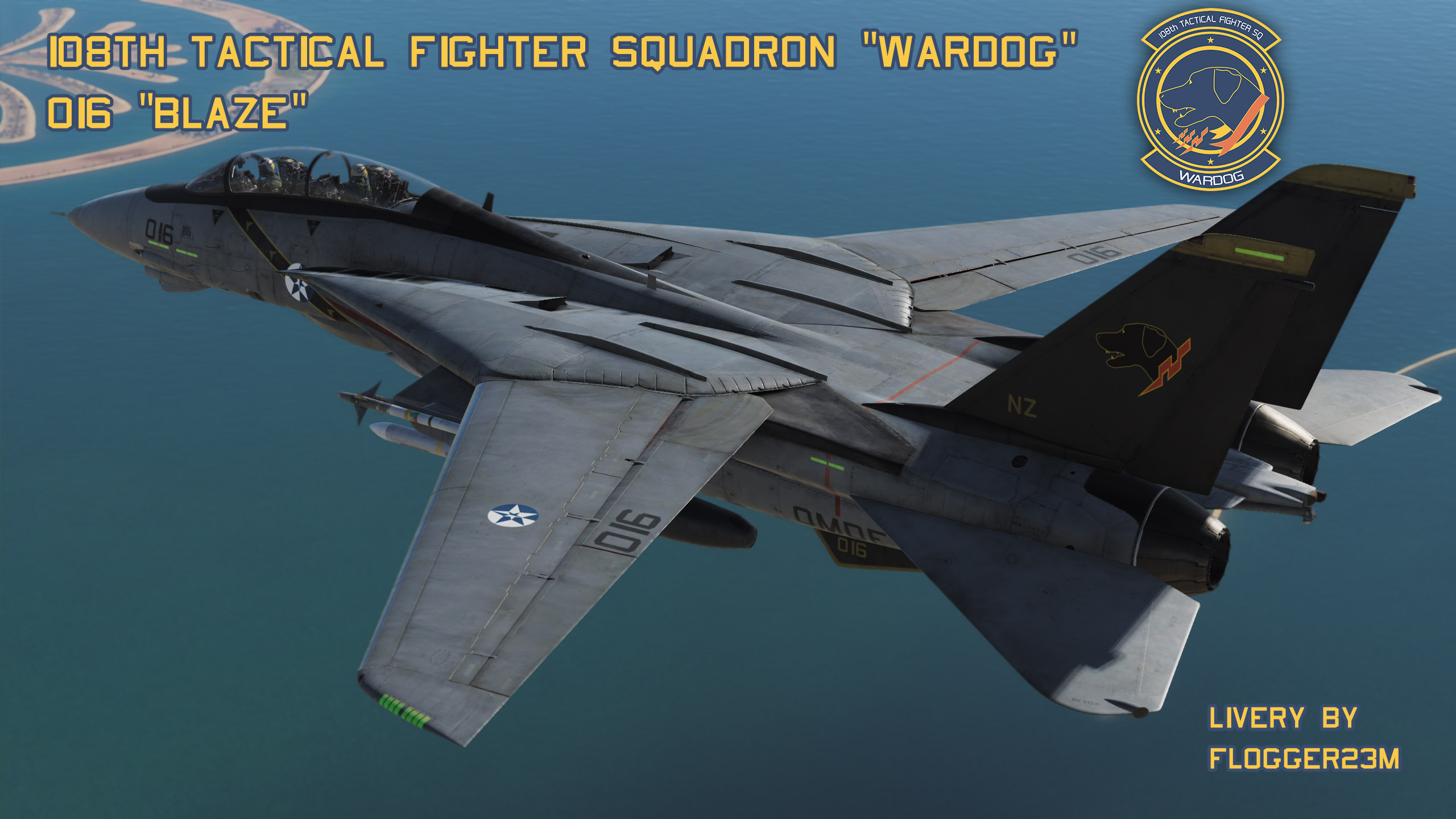 Wardog 016 Blaze (F-14A & F-14B) Version 2 - Livery for F-14B - By Flogger23m
