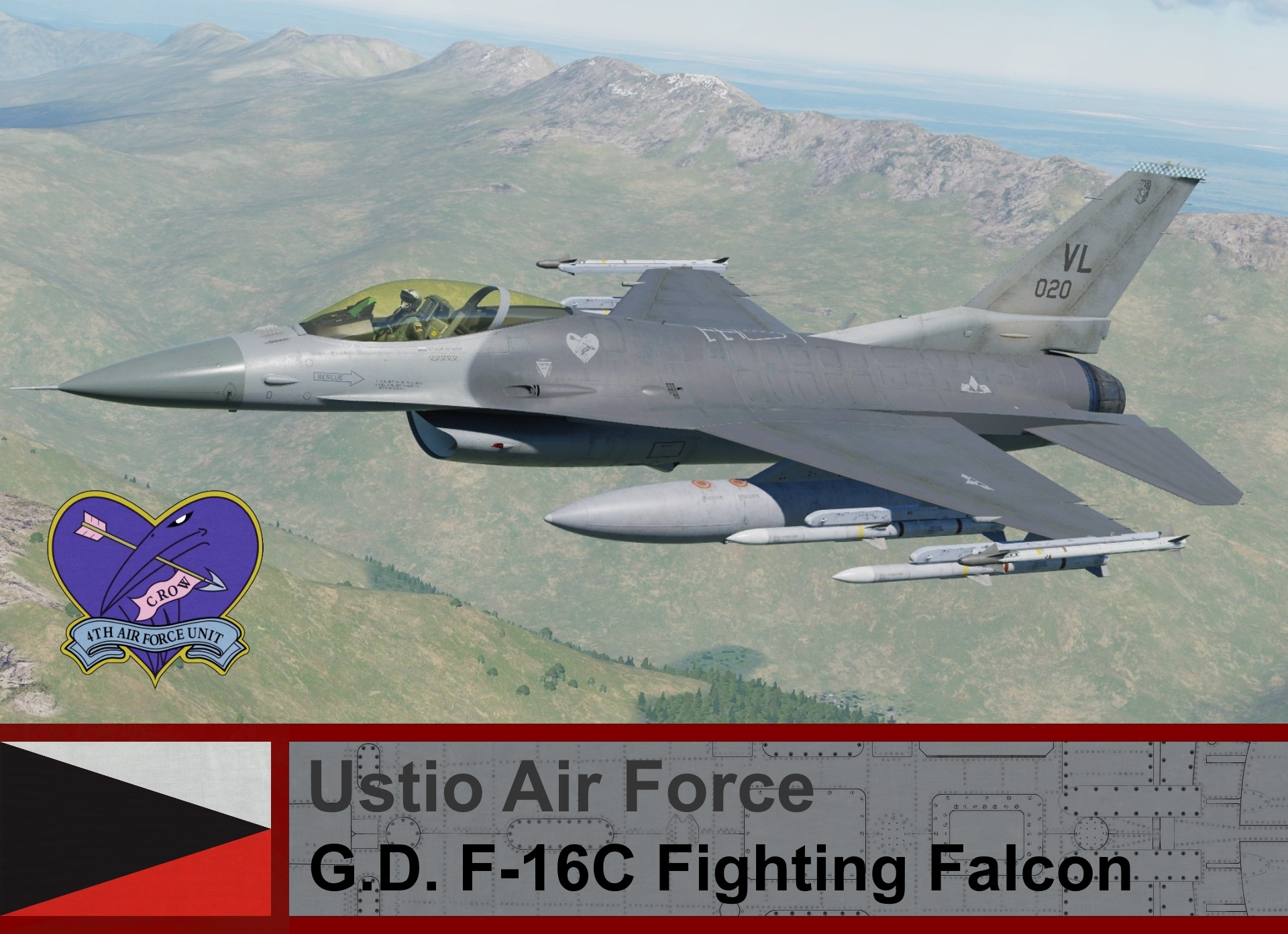 "Ustio Air Force F-16C Block 50 - Ace Combat Zero, (04th AFU) Crow 3, Lt. Patrick ""PJ"" Beckett"