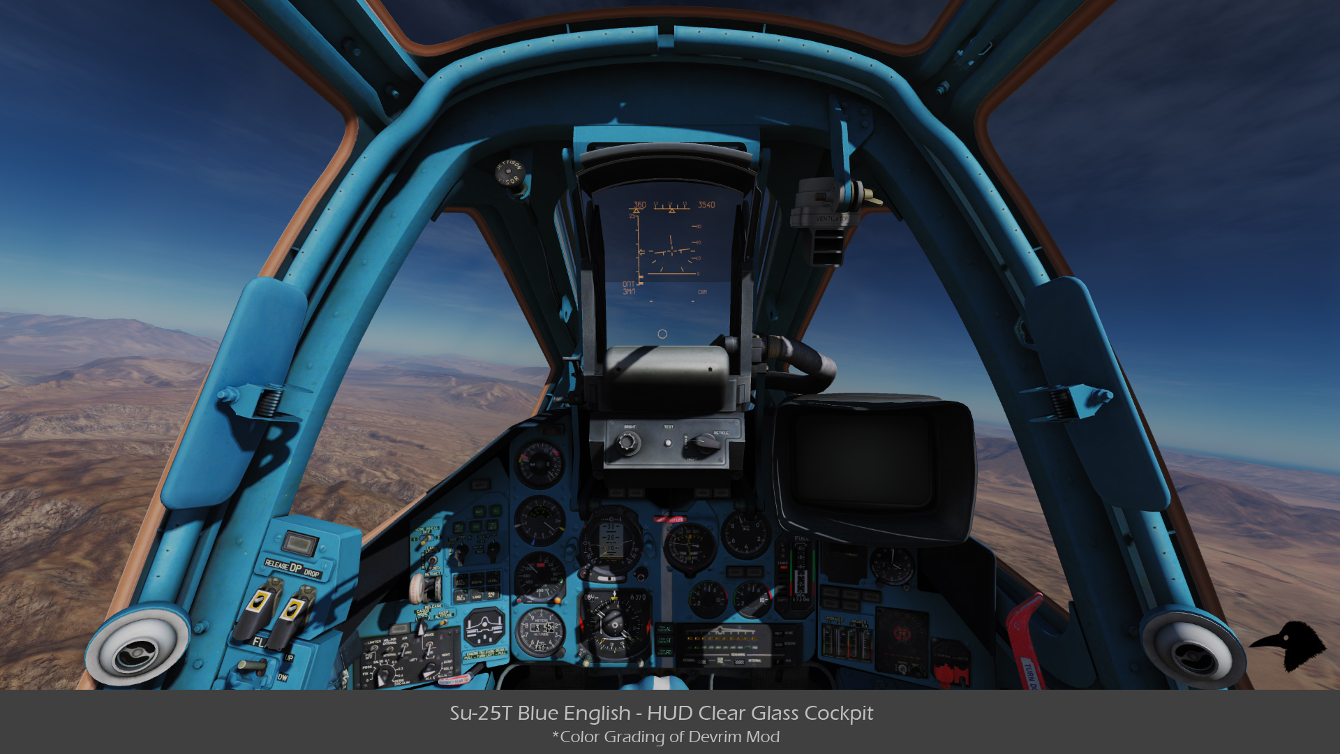 Su-25T Blue English - HUD Clear Glass Cockpit v01