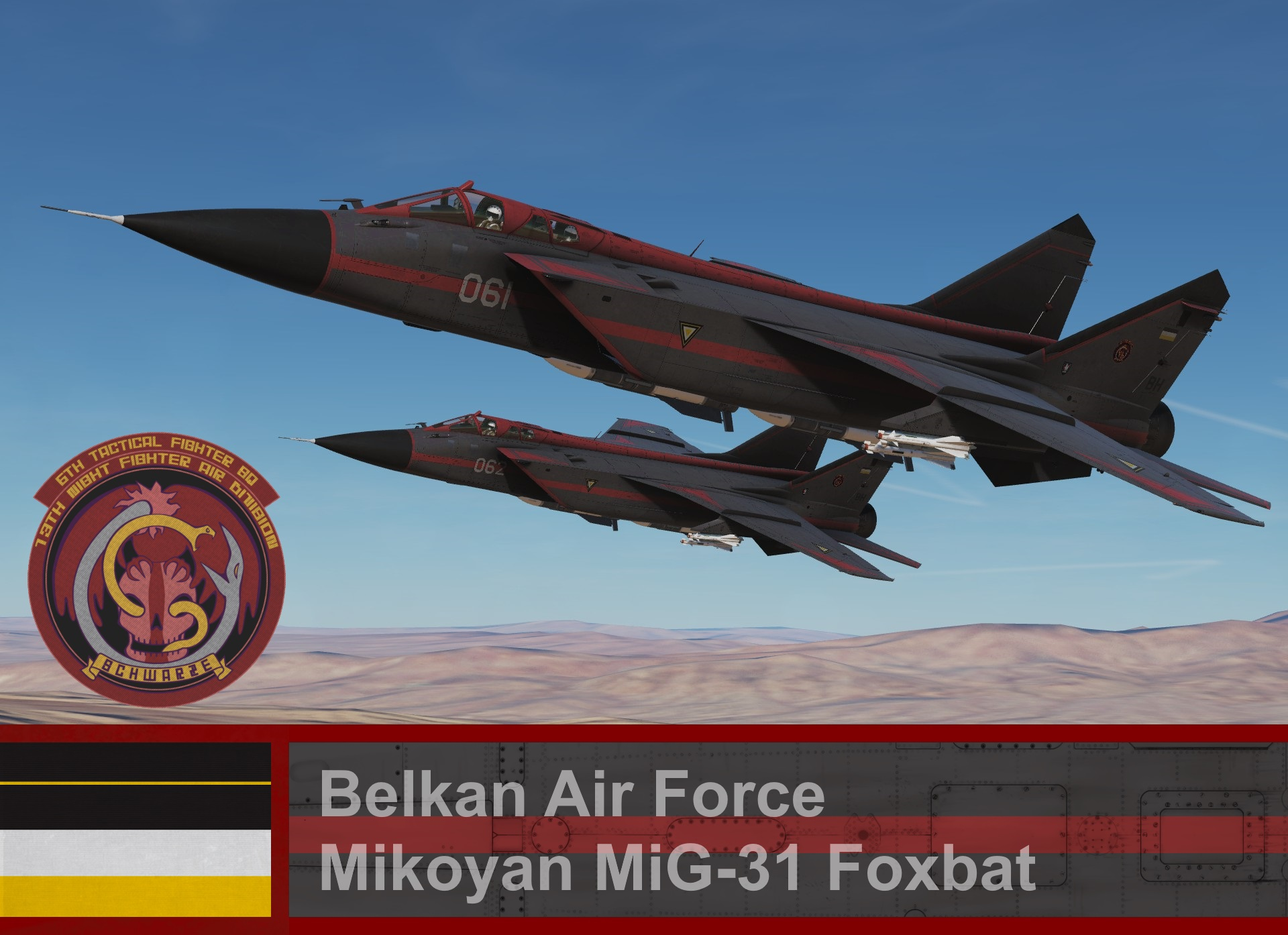 Belkan Air Force, Mikoyan MiG-31 Foxbat, Schwarze Team - Ace Combat Zero (6th TFS)