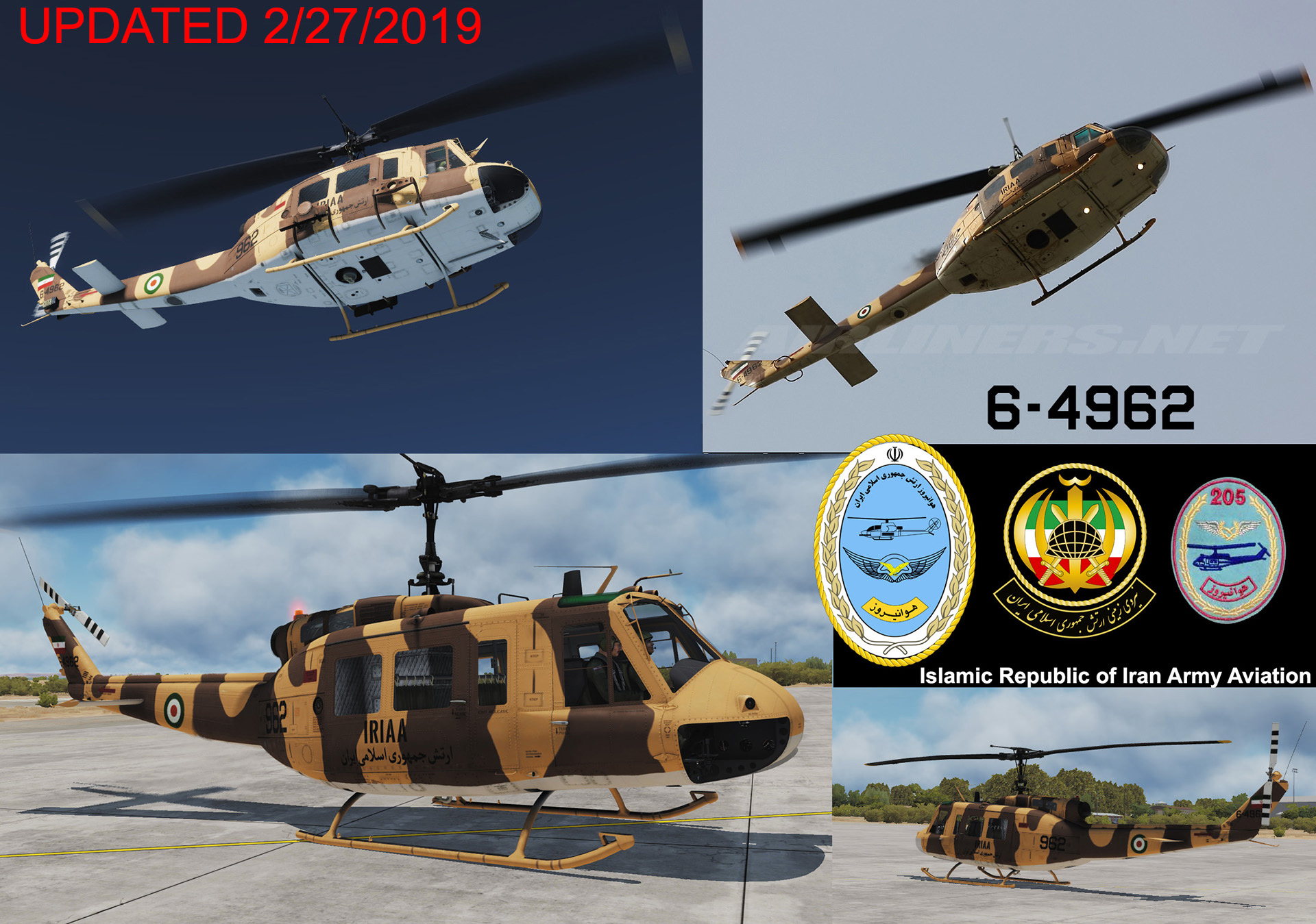 IRAN ARMY AVIATION (IRIAA) 6-4962 (AB-205A) UH-1H Huey (2/27/2019) UPDATED