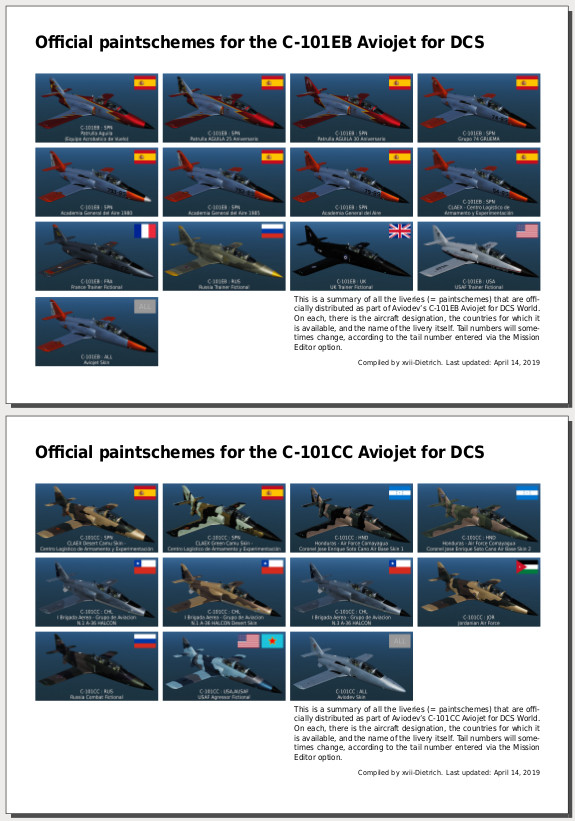 Gazetteer of the official C-101 paintschemes