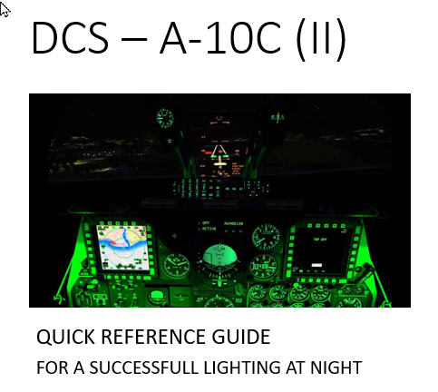 Quick reference guide - Controlling lights/brightness for successfull night flying