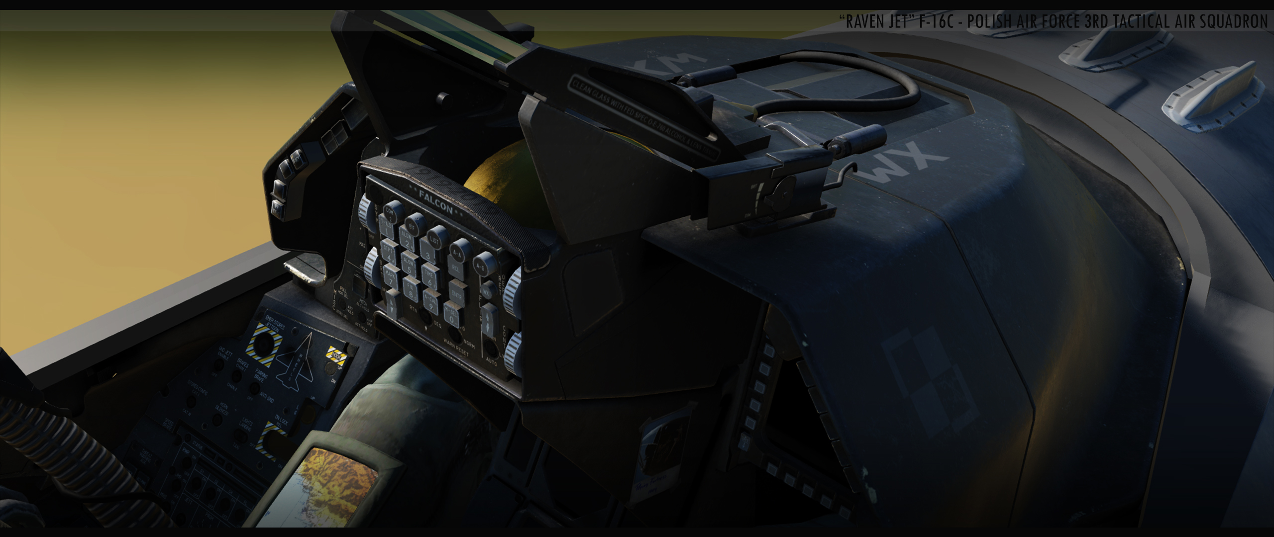 """RAVEN JET"" COCKPIT - F-16C FIGHTER FROM POLISH AIR FORCE 3RD TACTICAL AIR SQUADRON v002  (HOTFIX)"